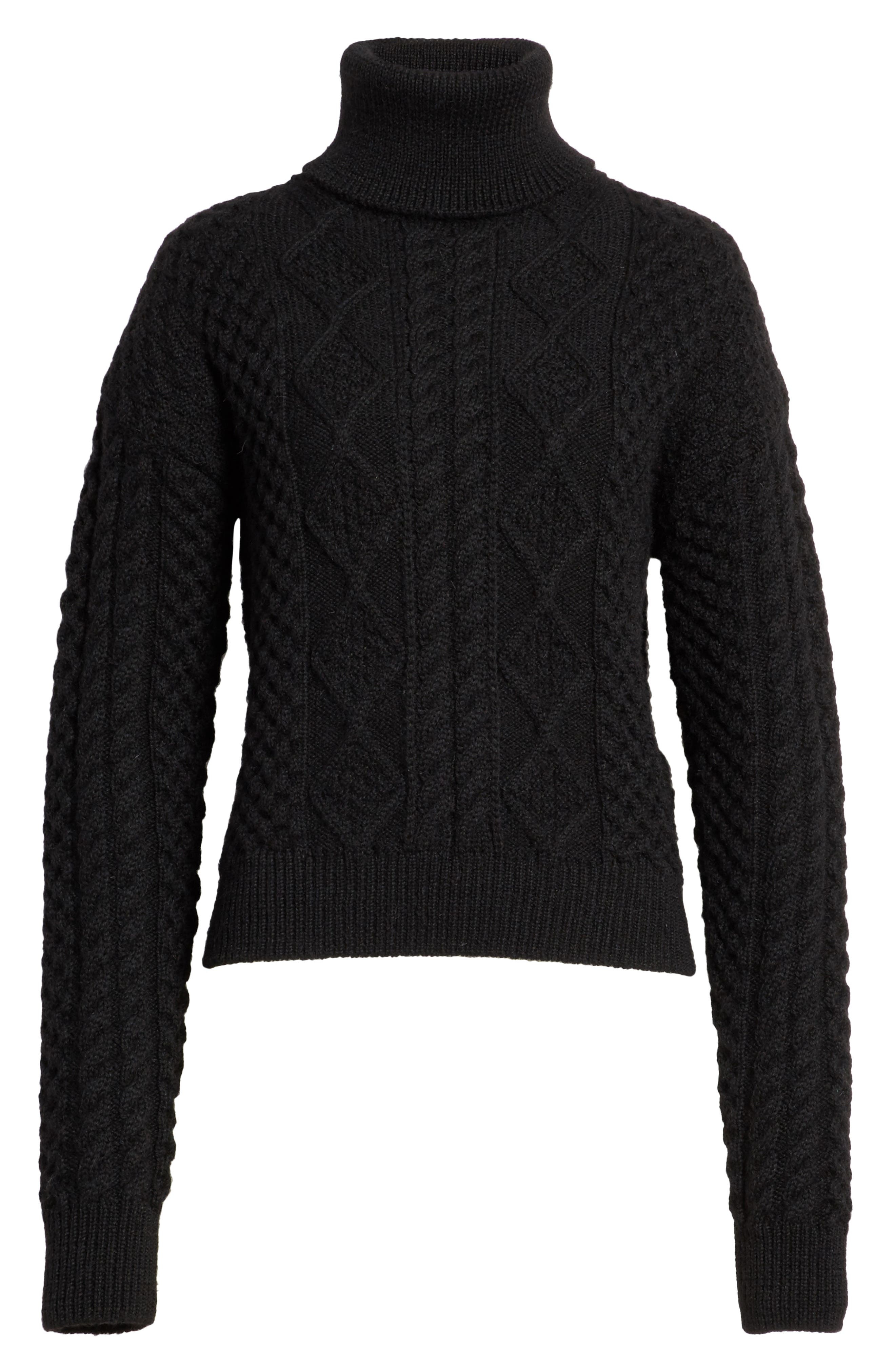 Cable Knit Wool Turtleneck Sweater,                             Alternate thumbnail 6, color,                             Black