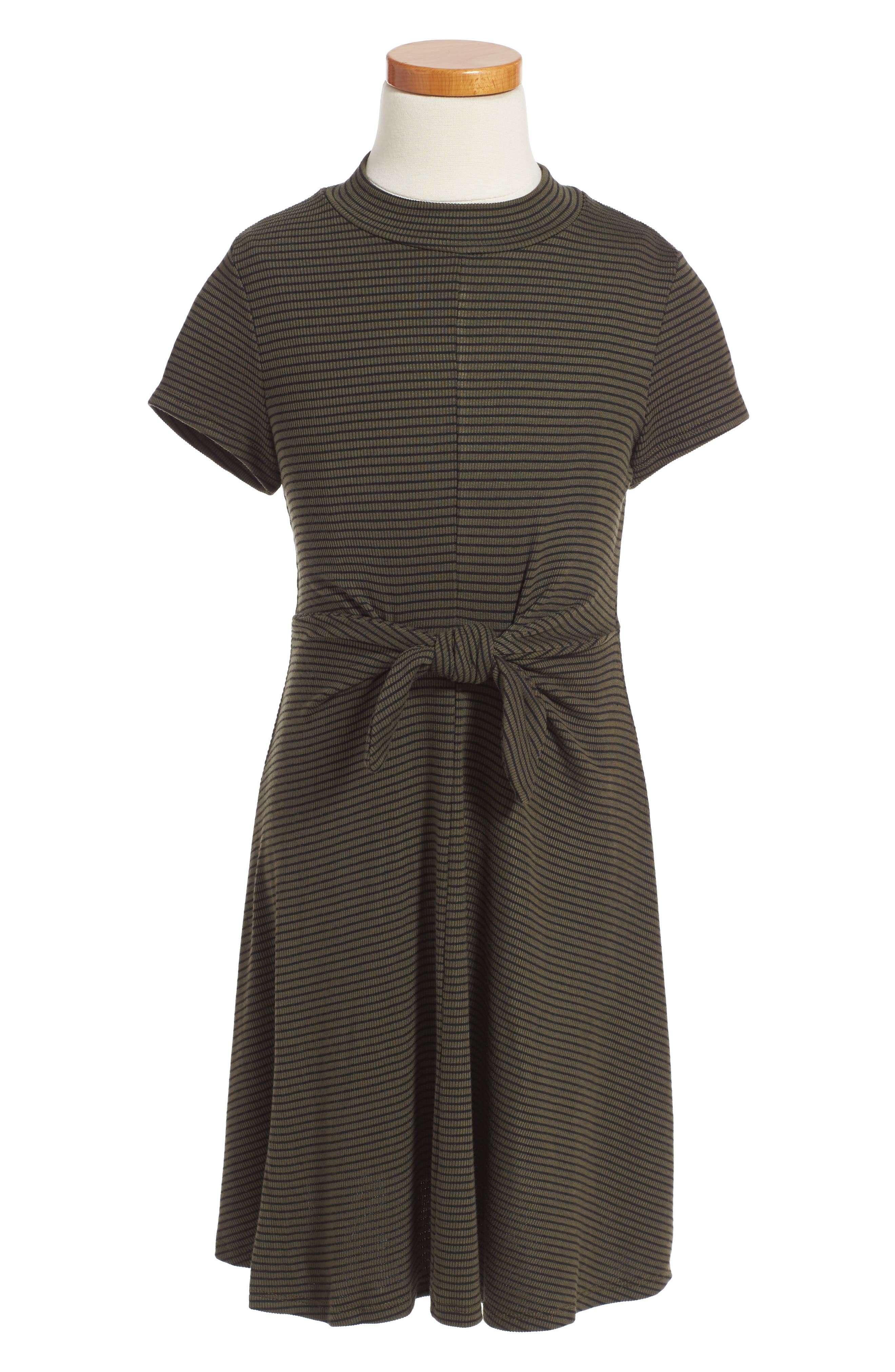 Alternate Image 1 Selected - Soprano Tie Front Stripe Dress (Big Girls)