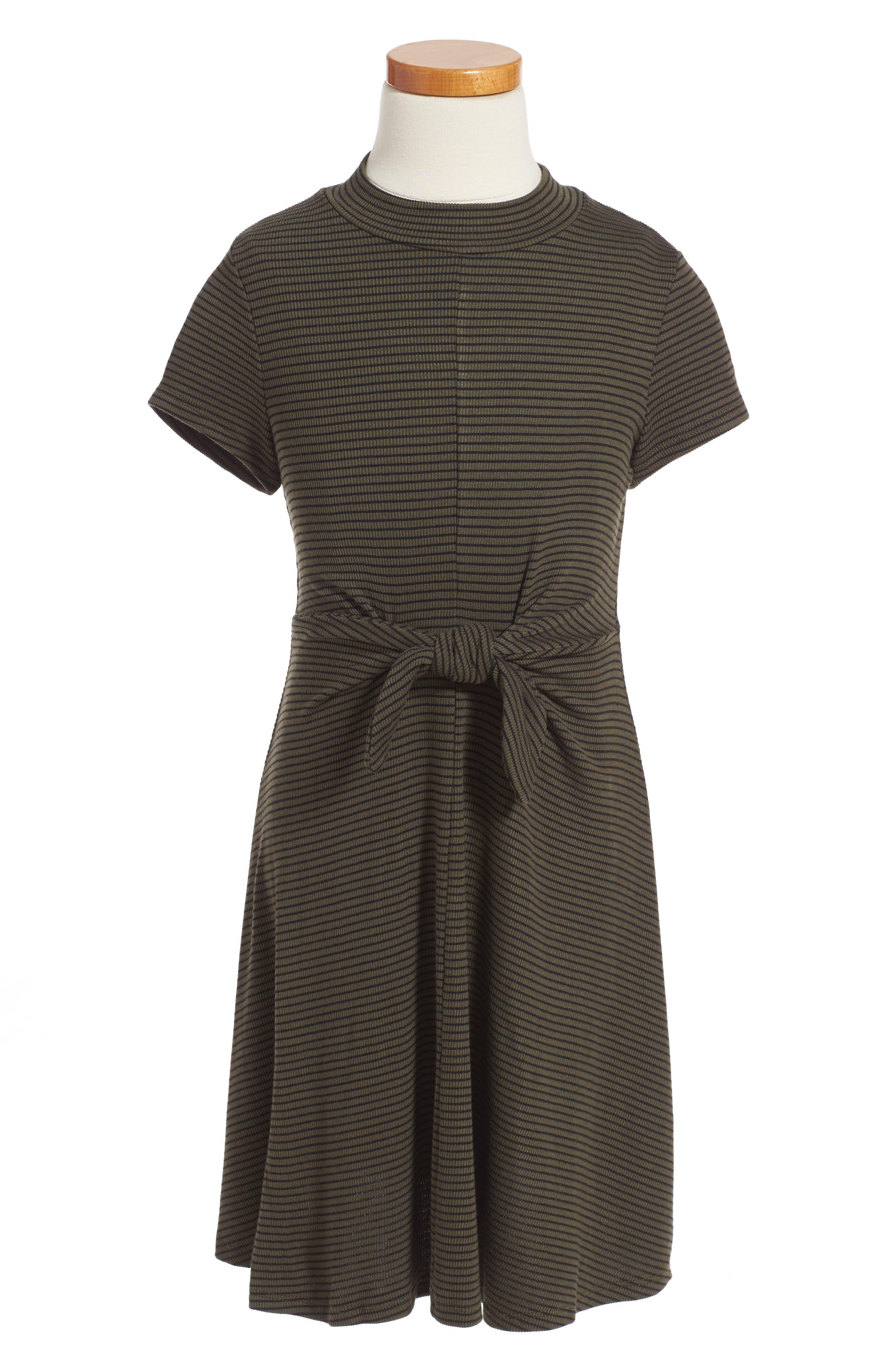 Main Image - Soprano Tie Front Stripe Dress (Big Girls)
