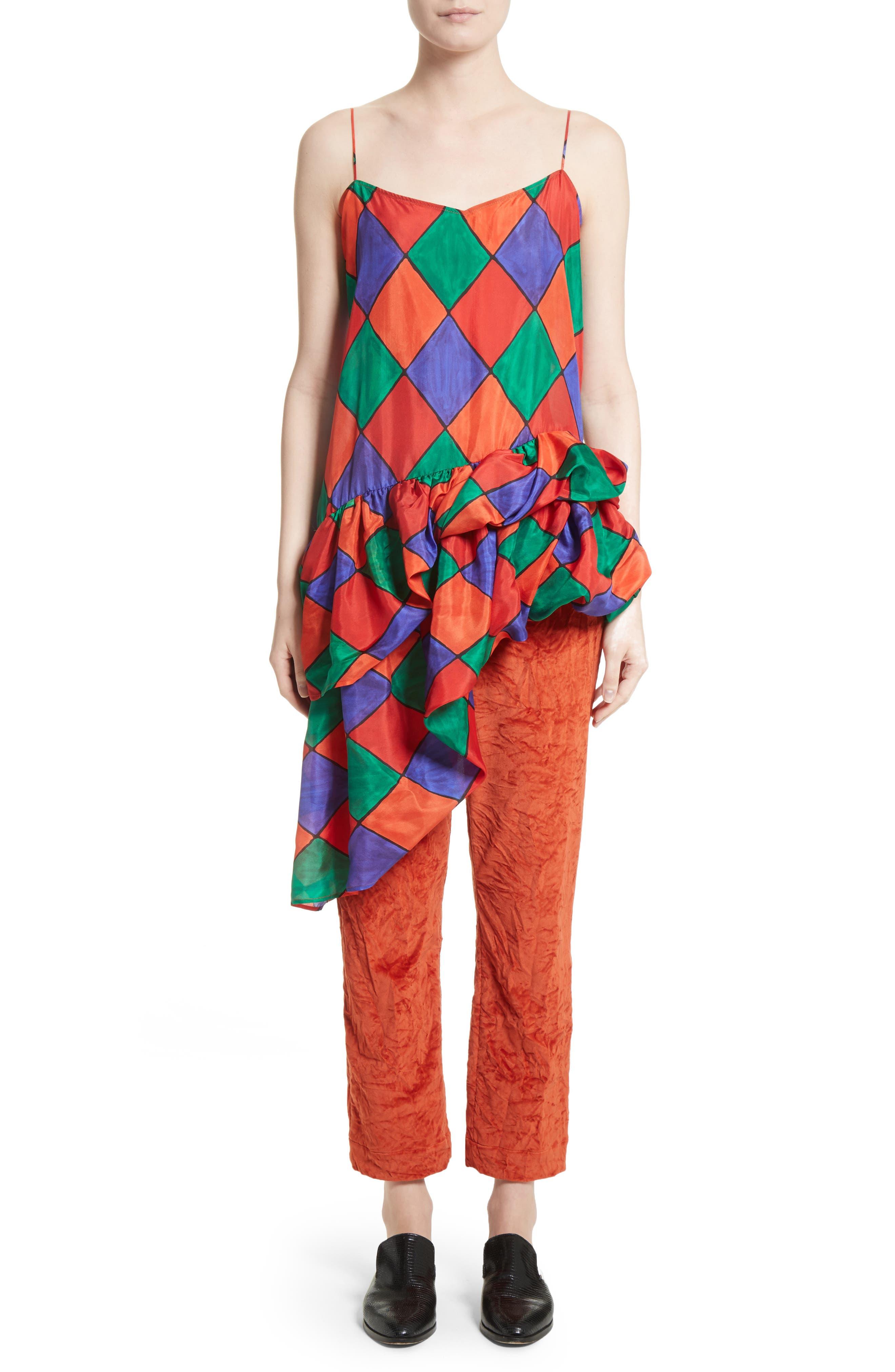 Fairy Asymmetrical Ruffle Silk Top,                             Alternate thumbnail 7, color,                             Carnival