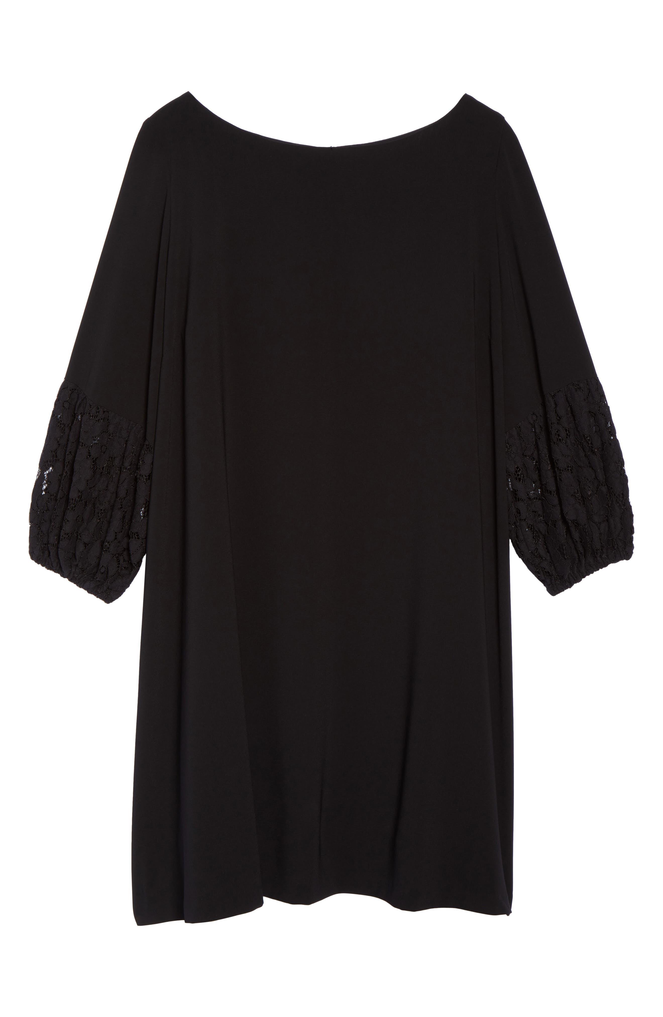 Lace Sleeve Trapeze Dress,                             Alternate thumbnail 6, color,                             Black