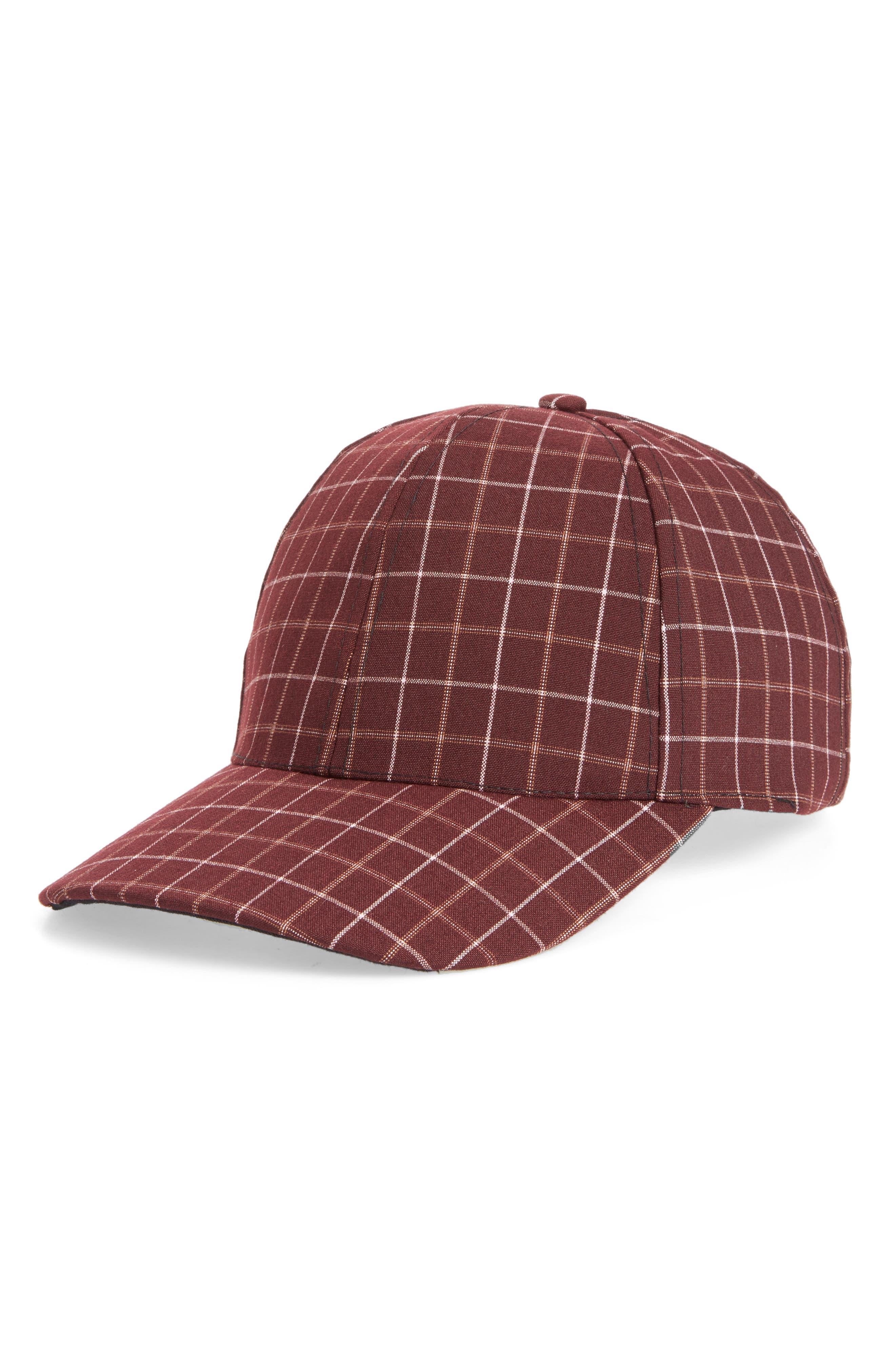 Windowpane Baseball Cap,                         Main,                         color, Burgundy
