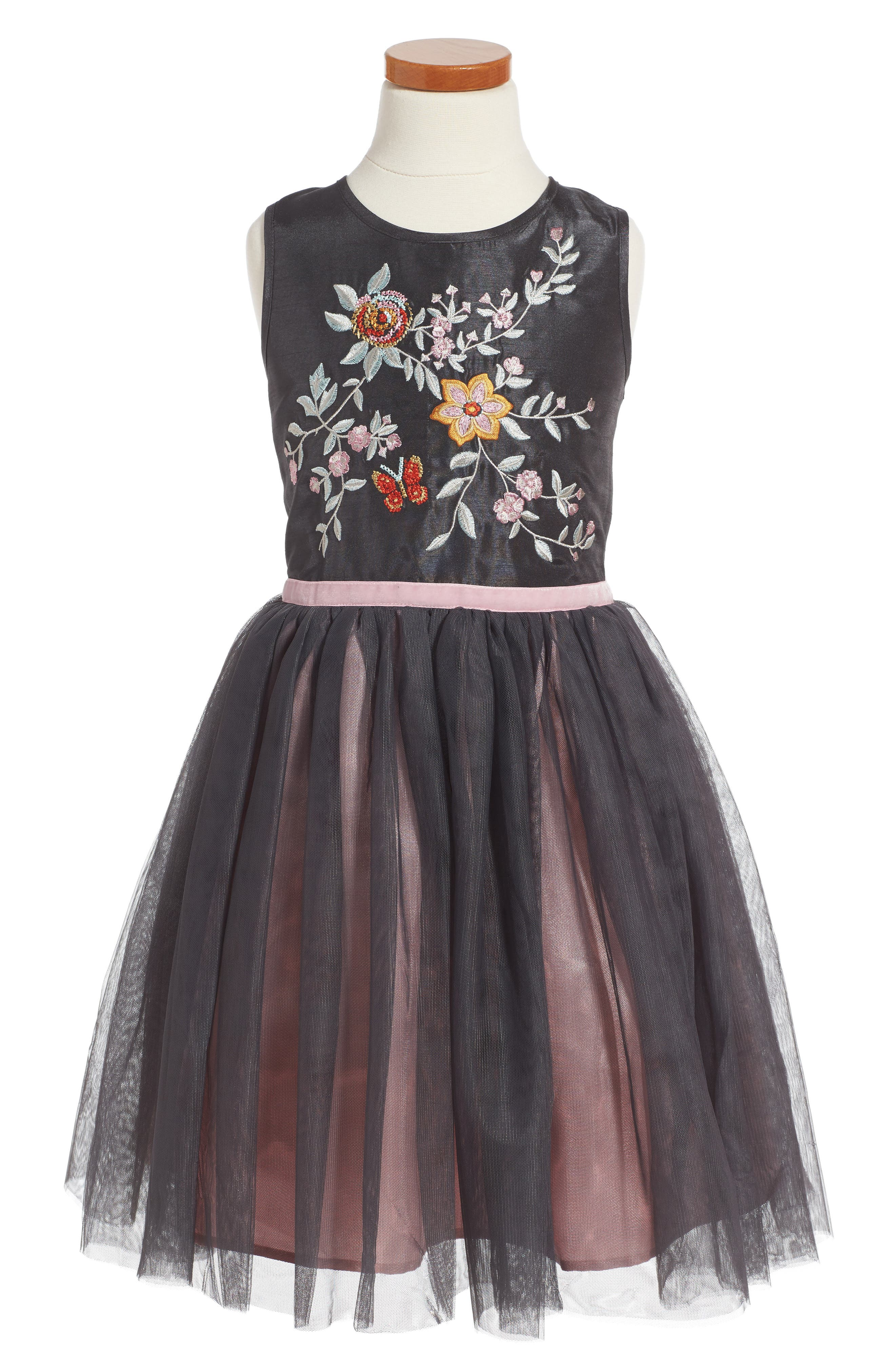 Embroidered Fit & Flare Dress,                         Main,                         color, Slate Grey