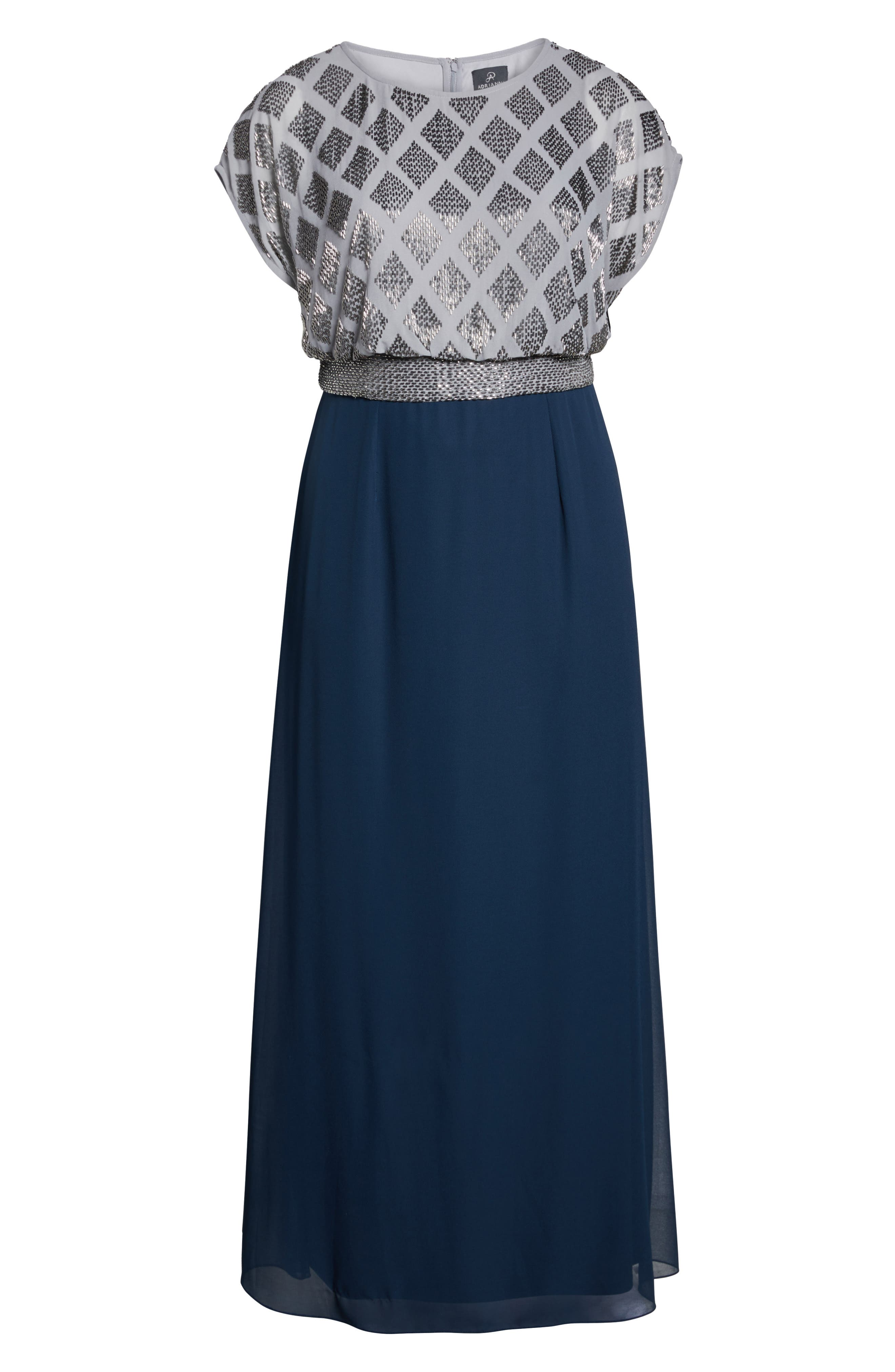 Beaded Gown,                             Alternate thumbnail 6, color,                             Silver/ Navy