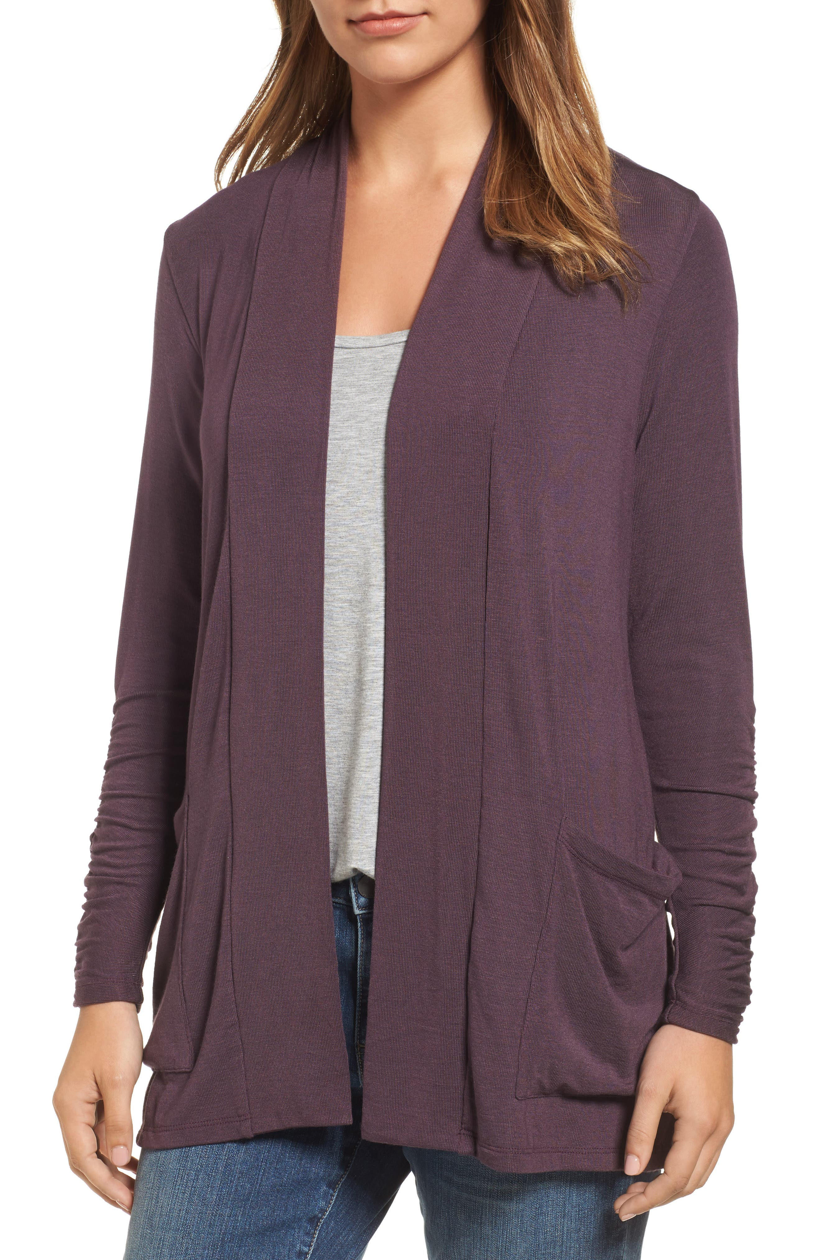 Ruched Sleeve Cardigan,                             Main thumbnail 1, color,                             Burgundy Stem