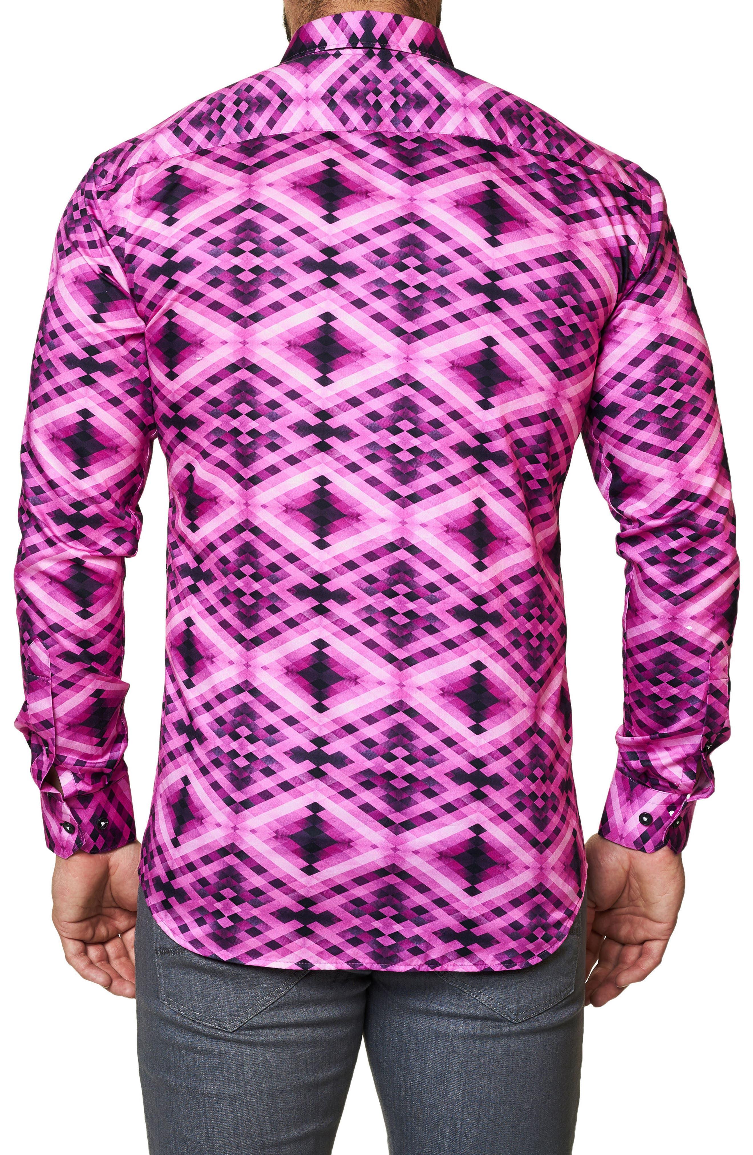 Luxor Slim Fit Geo Print Sport Shirt,                             Alternate thumbnail 2, color,                             Pink