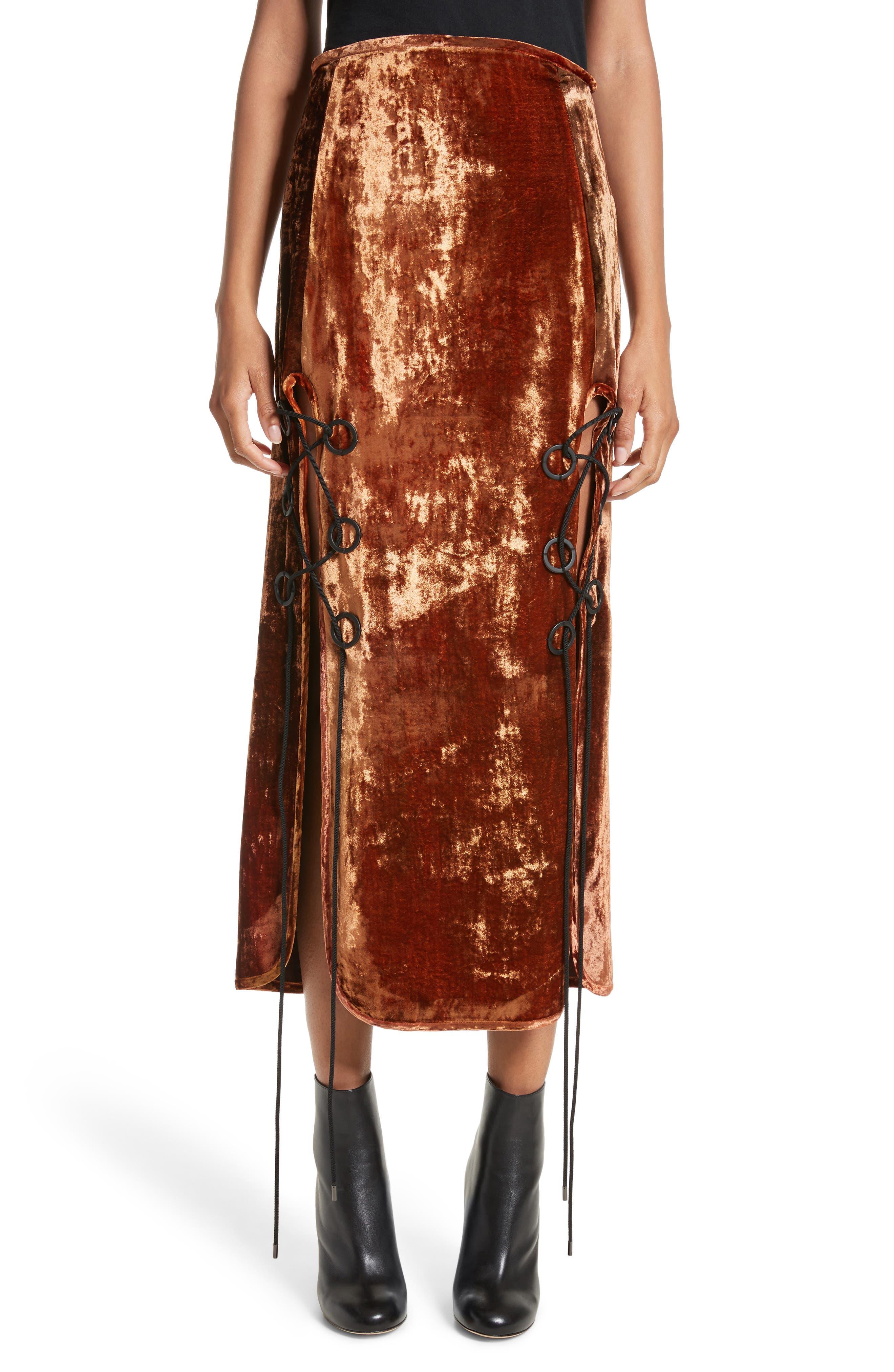 Alternate Image 1 Selected - Ellery The Blues Lace Up Crushed Velvet Midi Skirt