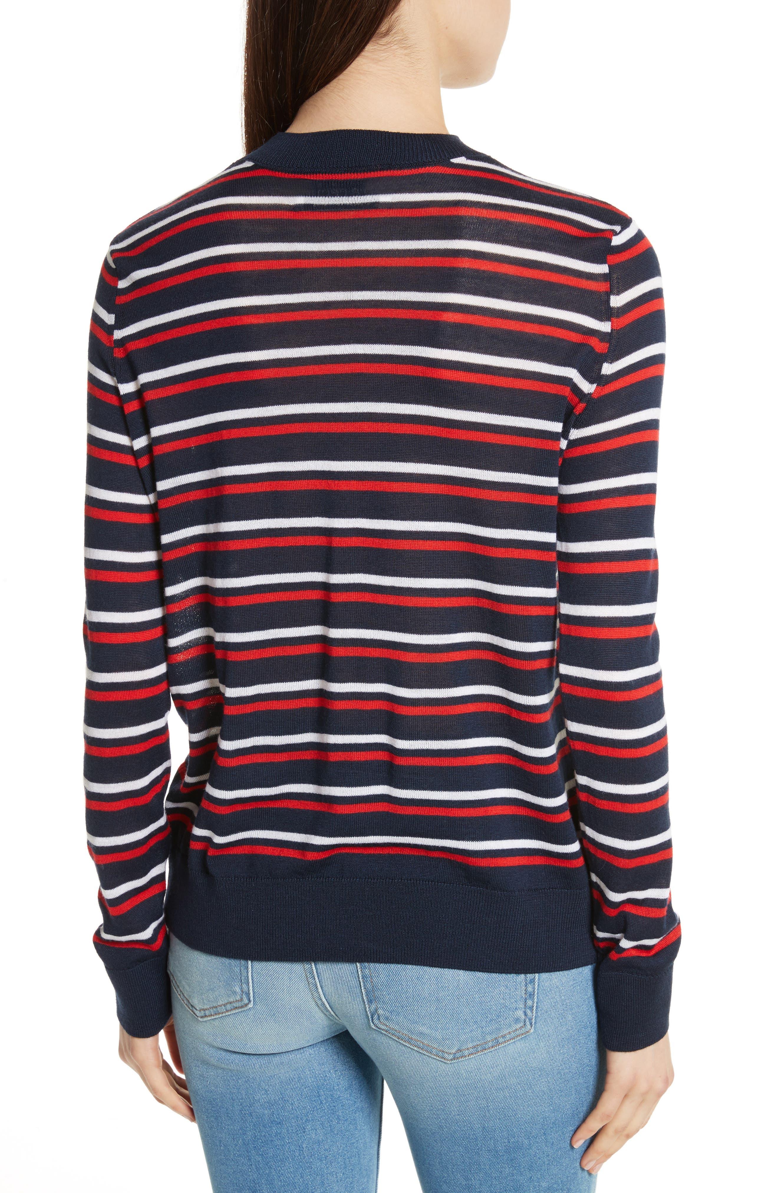 être cécile Stripe Knit Boyfriend Sweater,                             Alternate thumbnail 2, color,                             Marine Blue/ Red/ White