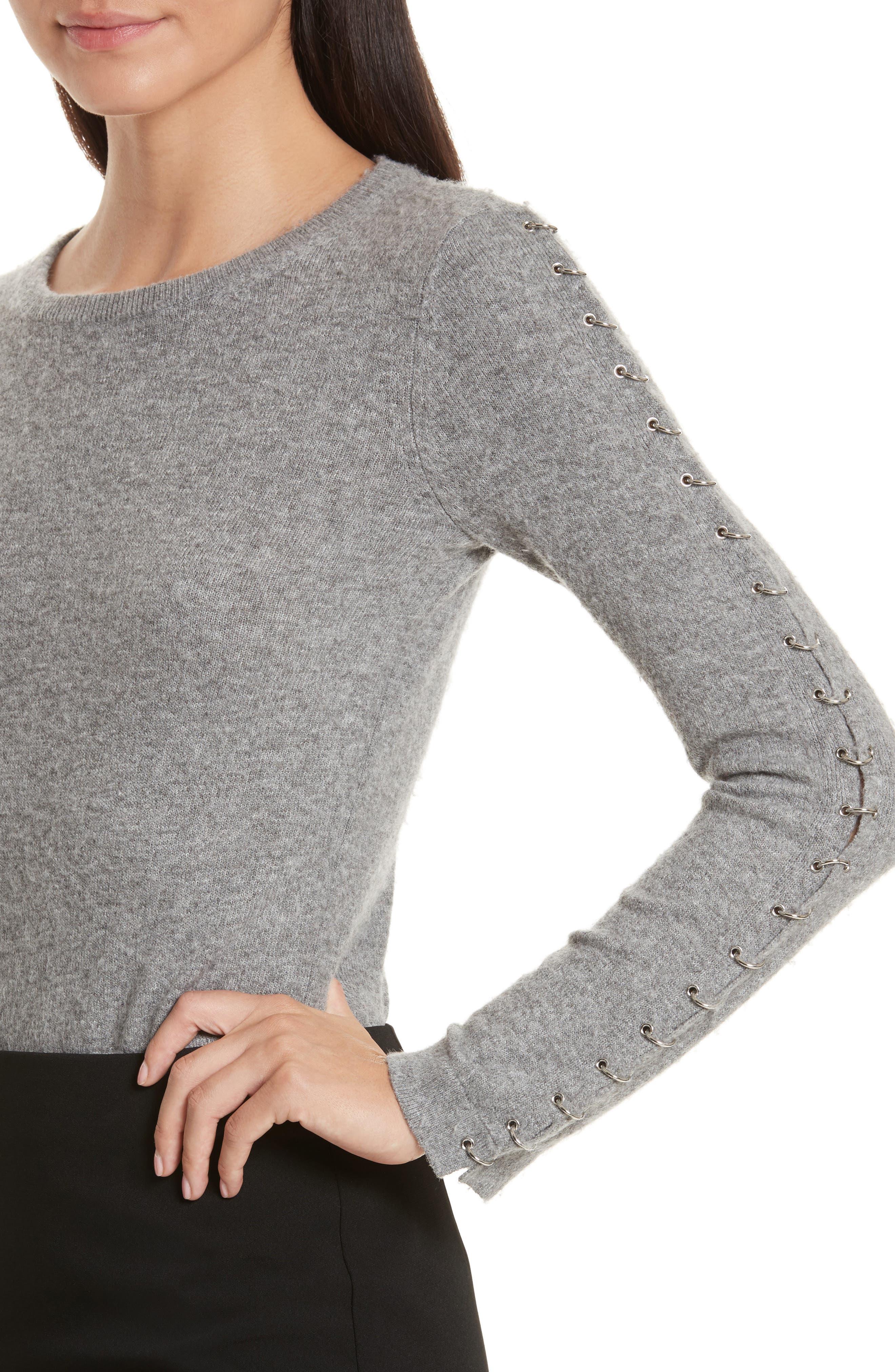 Alternate Image 4  - Alice + Olivia Sparrow Grommet Sleeve Sweater