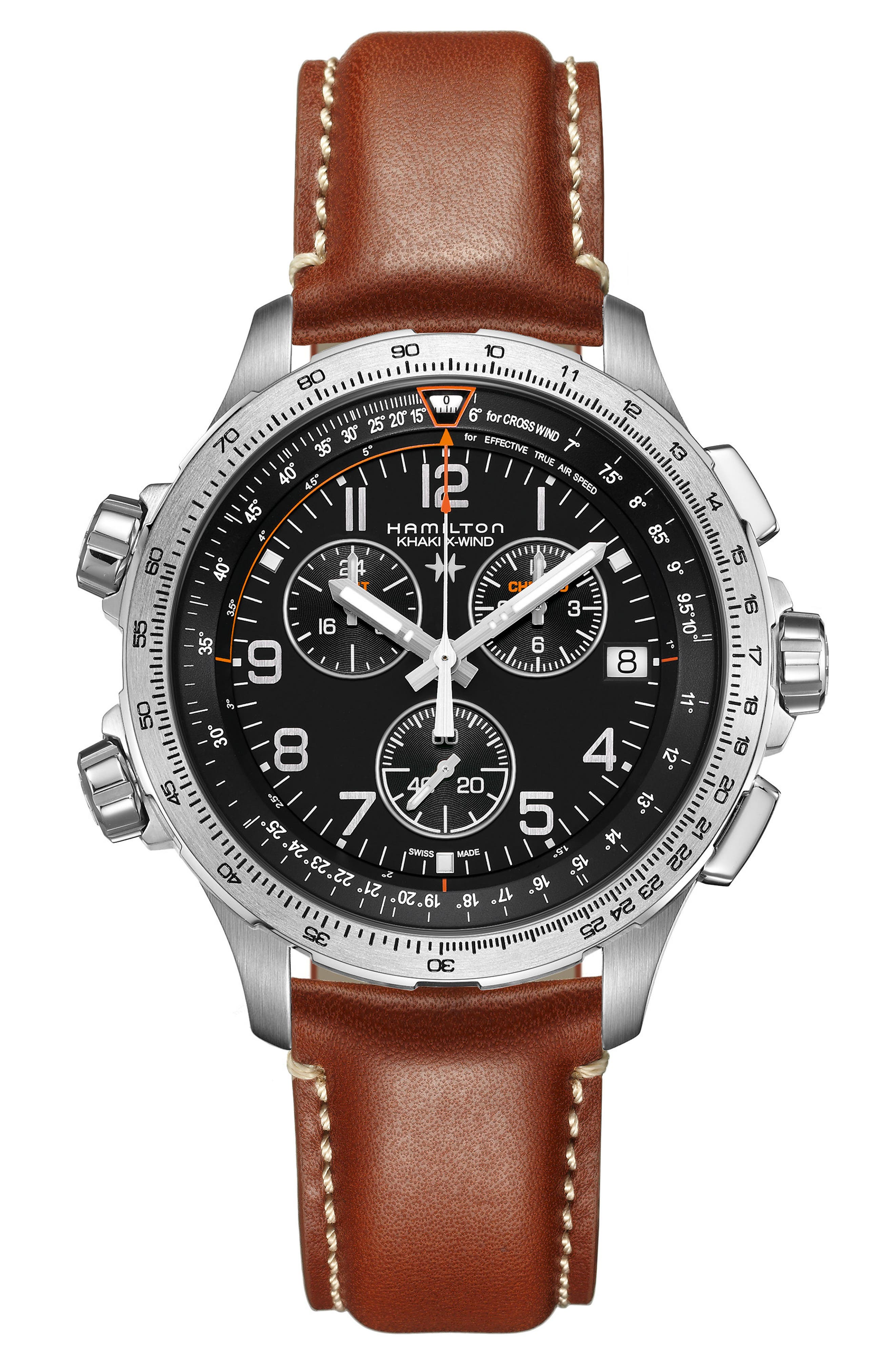 Khaki X-Wind Chronograph Leather Strap Watch, 46mm,                         Main,                         color, Brown/ Black/ Silver