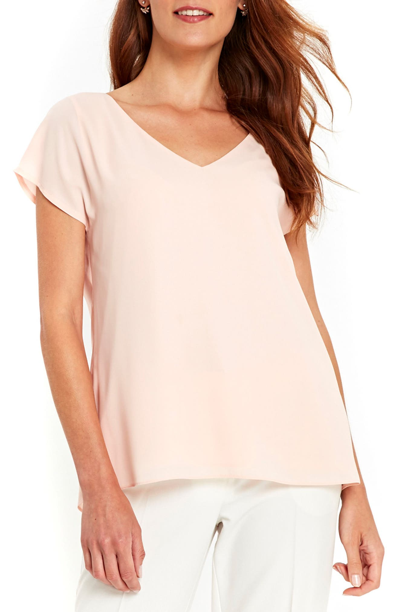 Layered Split Back Top,                         Main,                         color, Blush