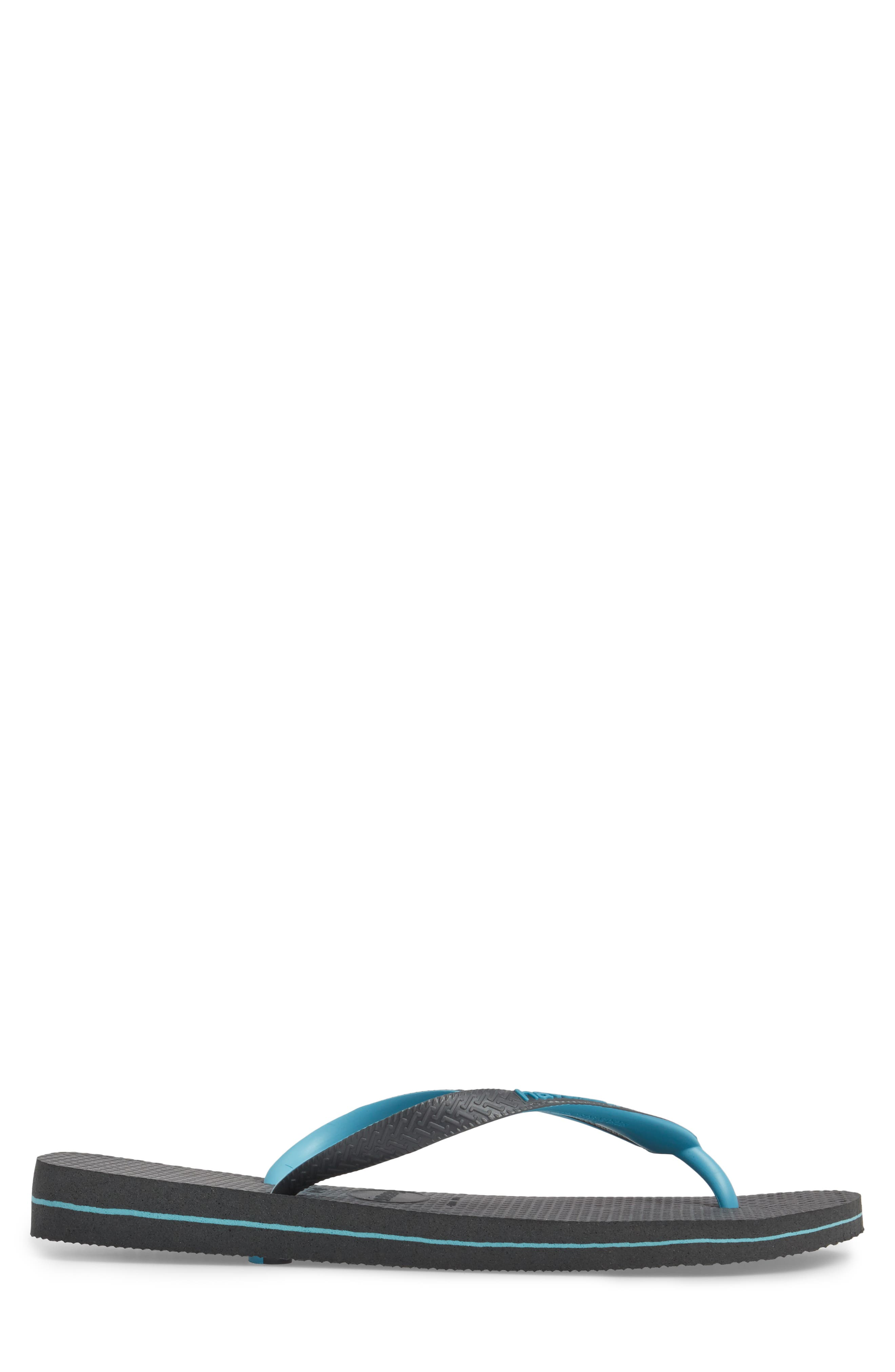 Top Logo Filete Mix Flip Flop,                             Alternate thumbnail 3, color,                             Dark Grey