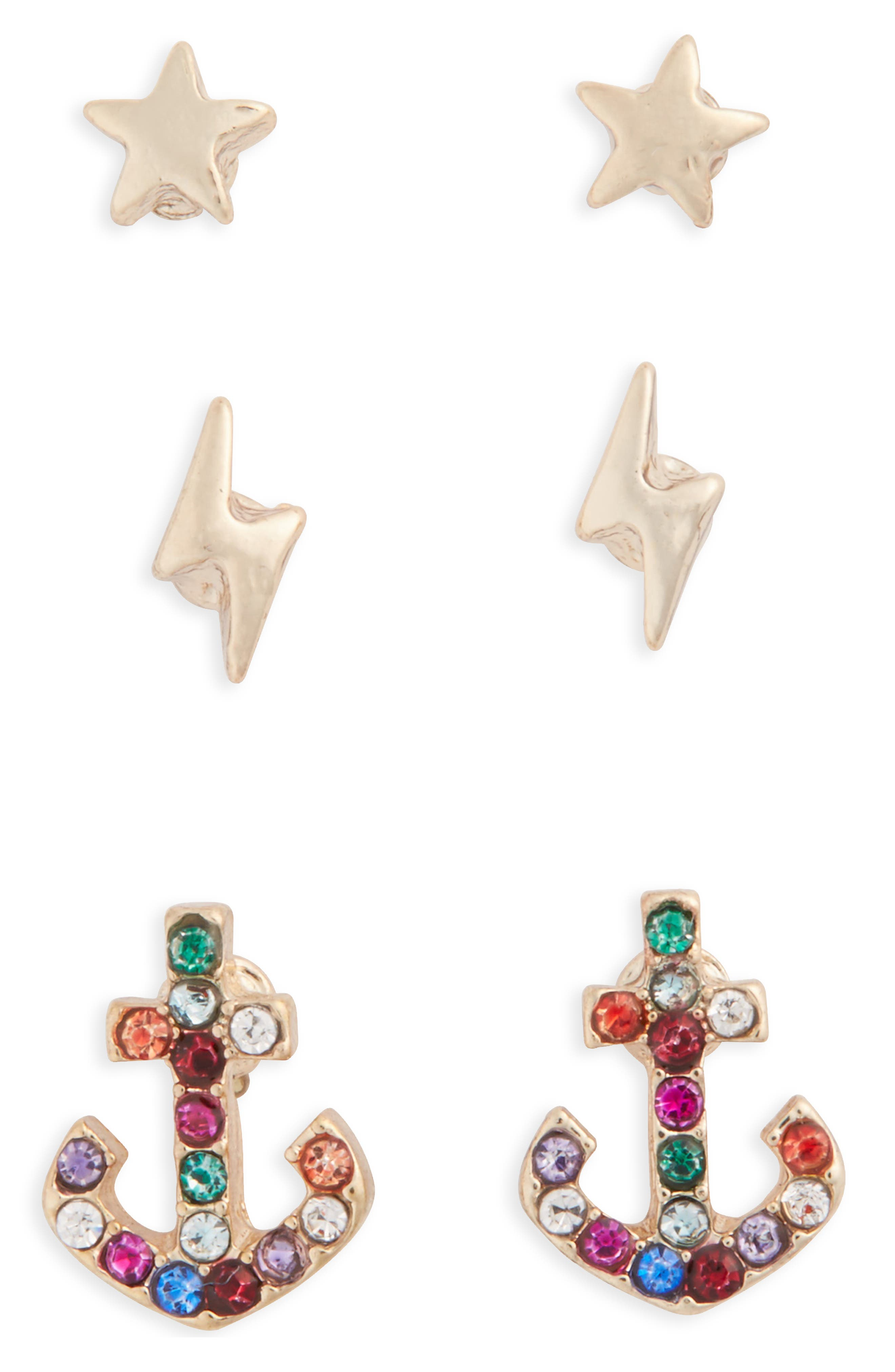 Topshop Pack of 3 Star, Lightning & Anchor Stud Earrings