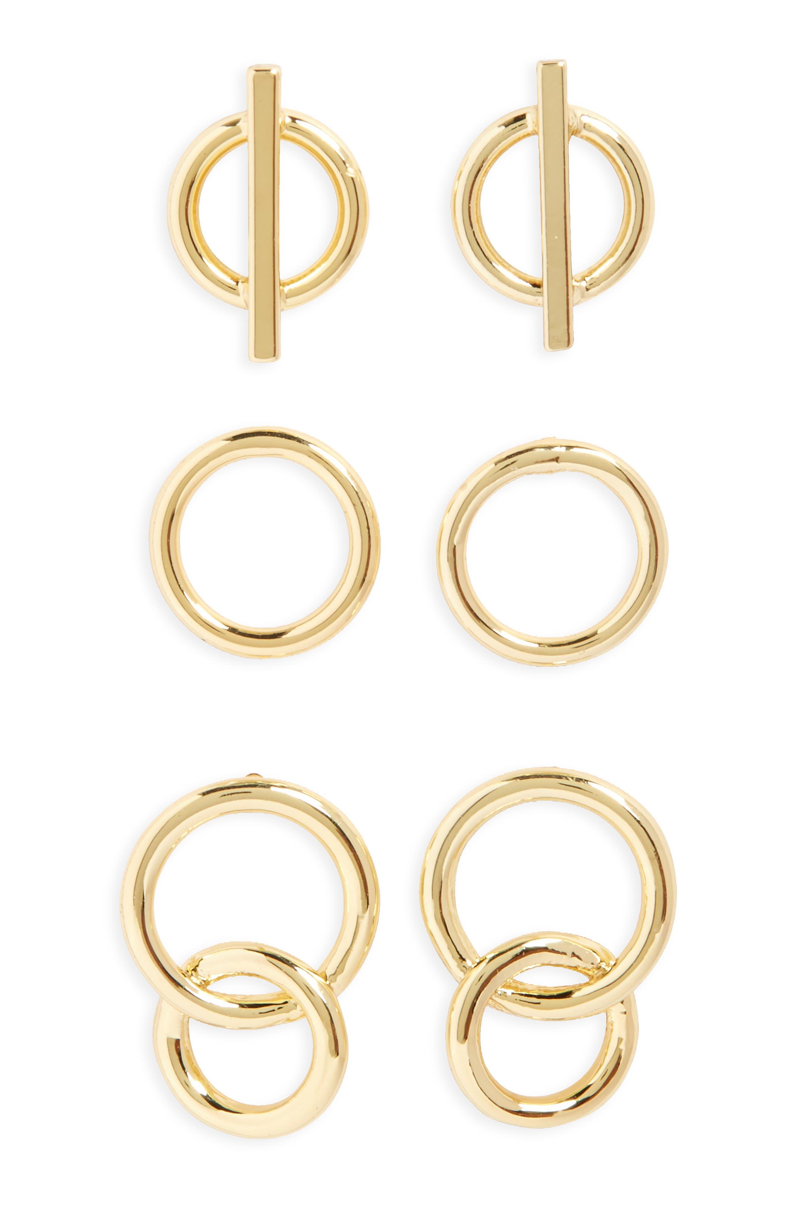 Main Image - Halogen® Set of 3 Stud Earrings
