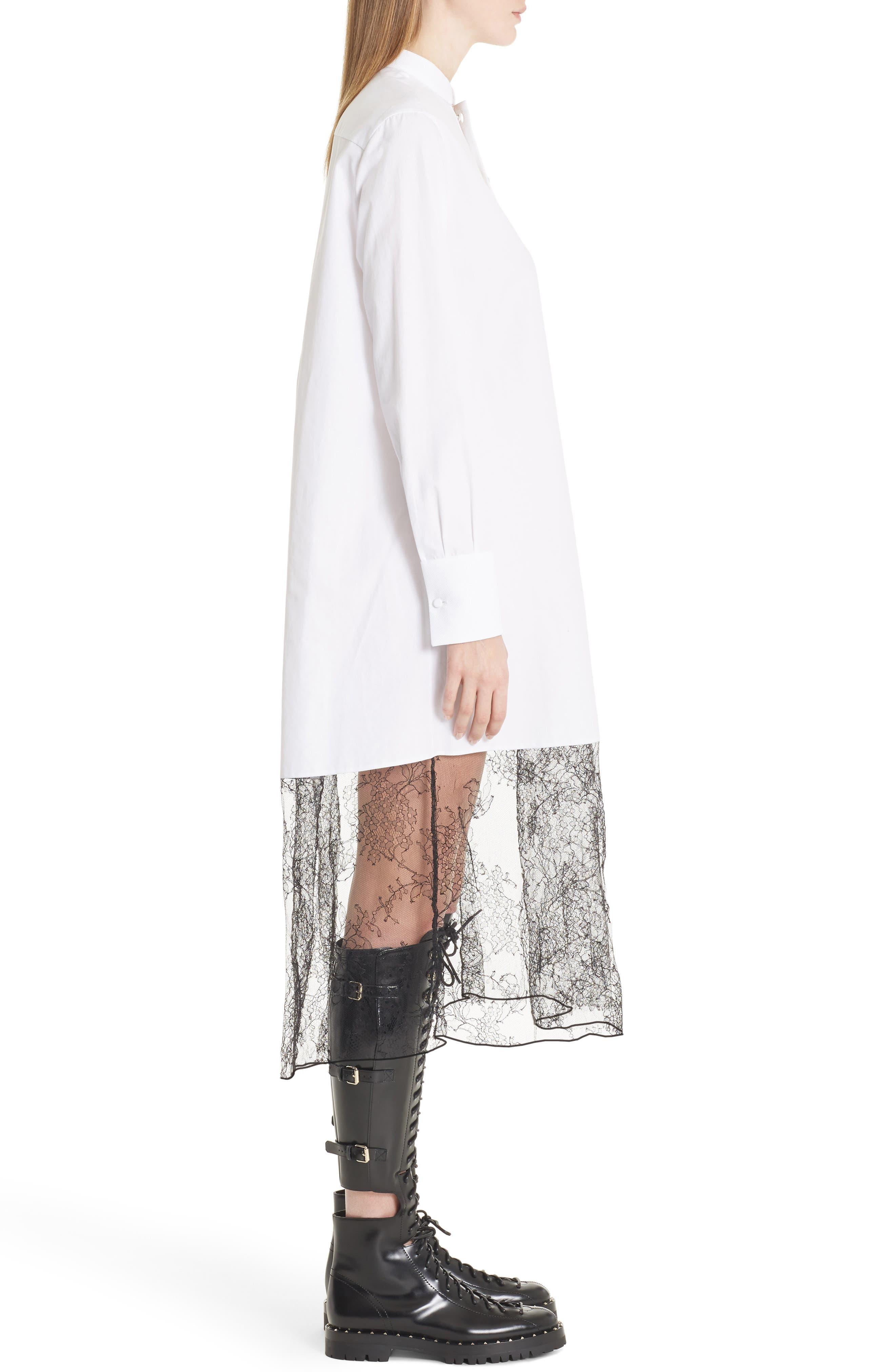 Lace Hem Cotton Poplin Shirtdress,                             Alternate thumbnail 4, color,                             White/ Black