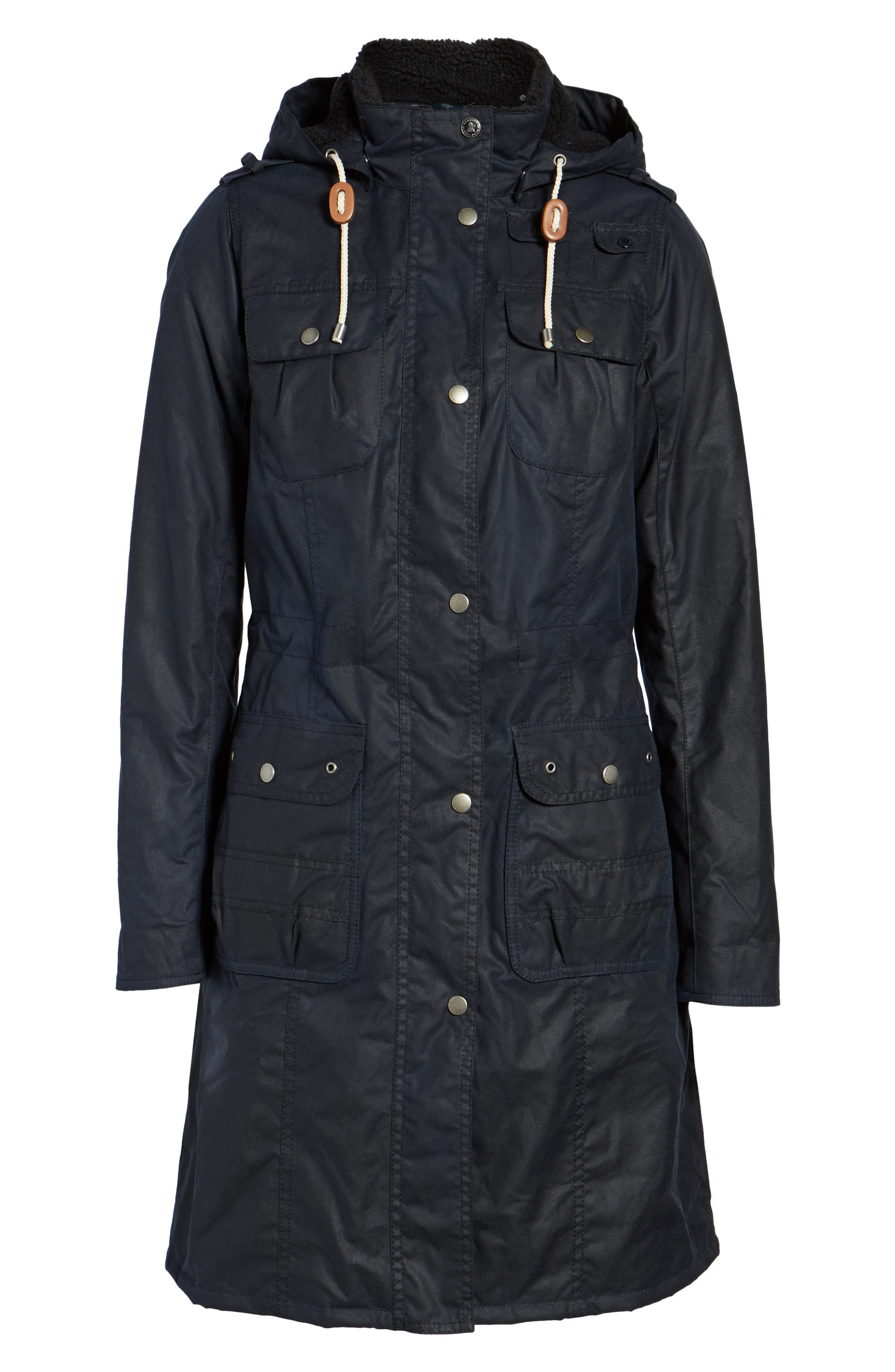 Winterton Hooded Water Repellent Waxed Canvas Jacket,                             Alternate thumbnail 6, color,                             Royal Navy
