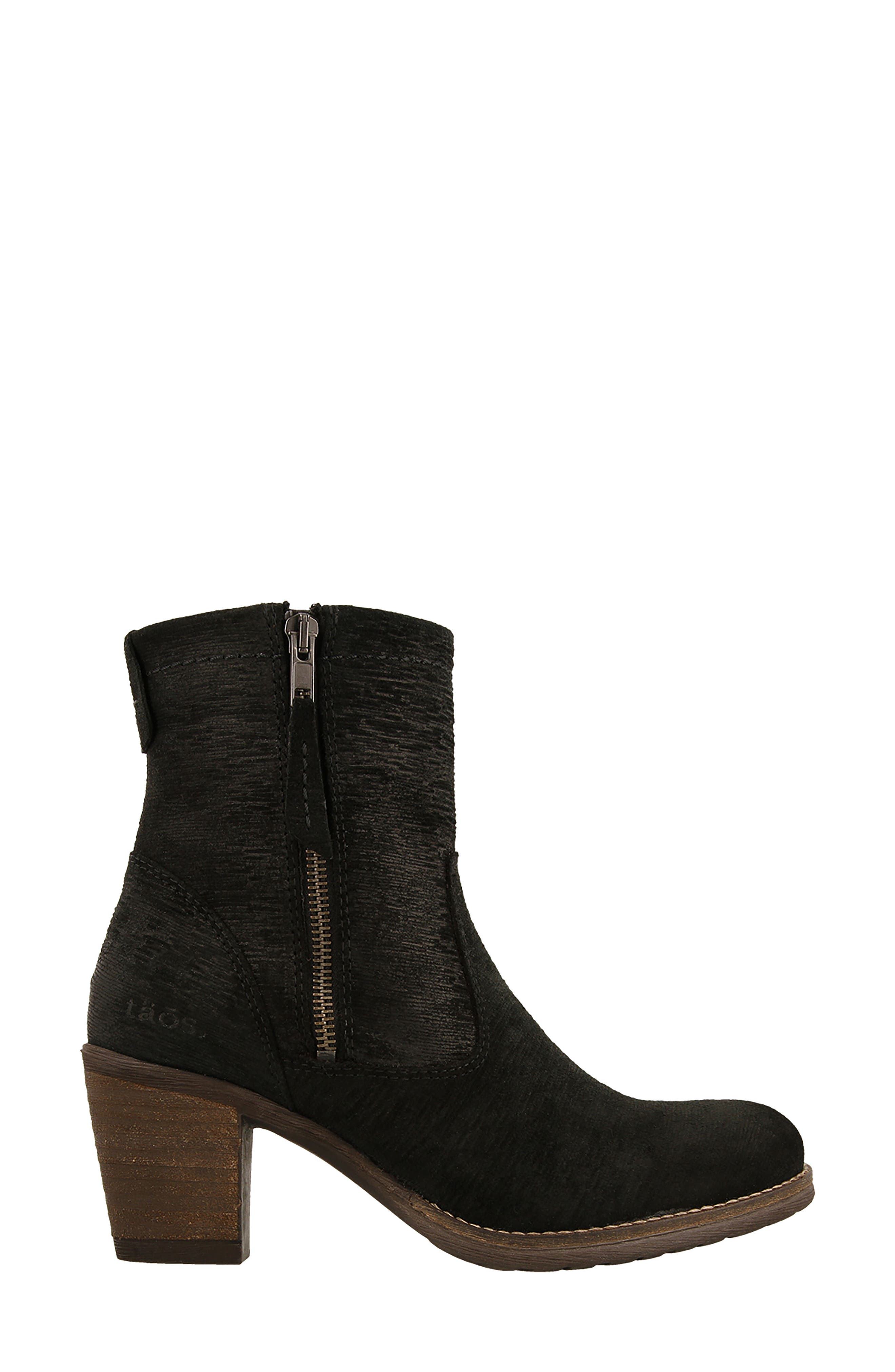Shaka 2 Embossed Faux Fur Lined Bootie,                             Alternate thumbnail 3, color,                             Black Emboss Suede