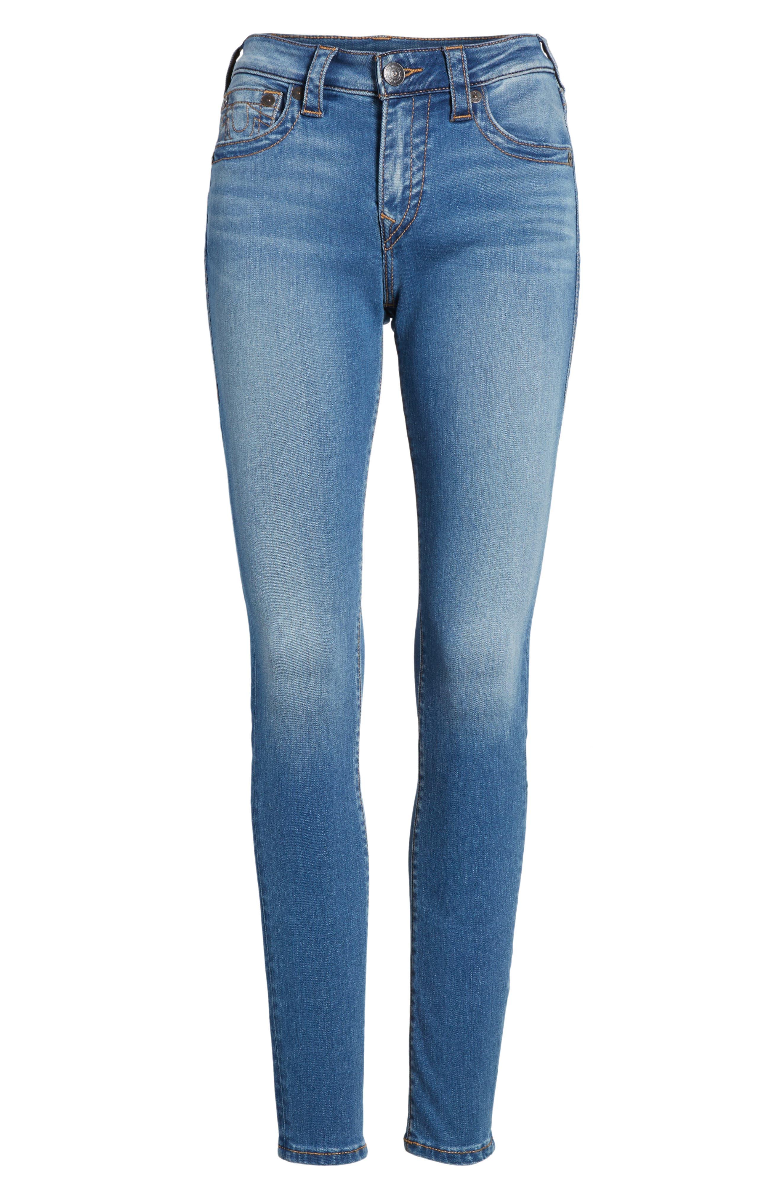 Jennie Curvy Skinny Jeans,                             Alternate thumbnail 6, color,                             Nu Authentic Indigo