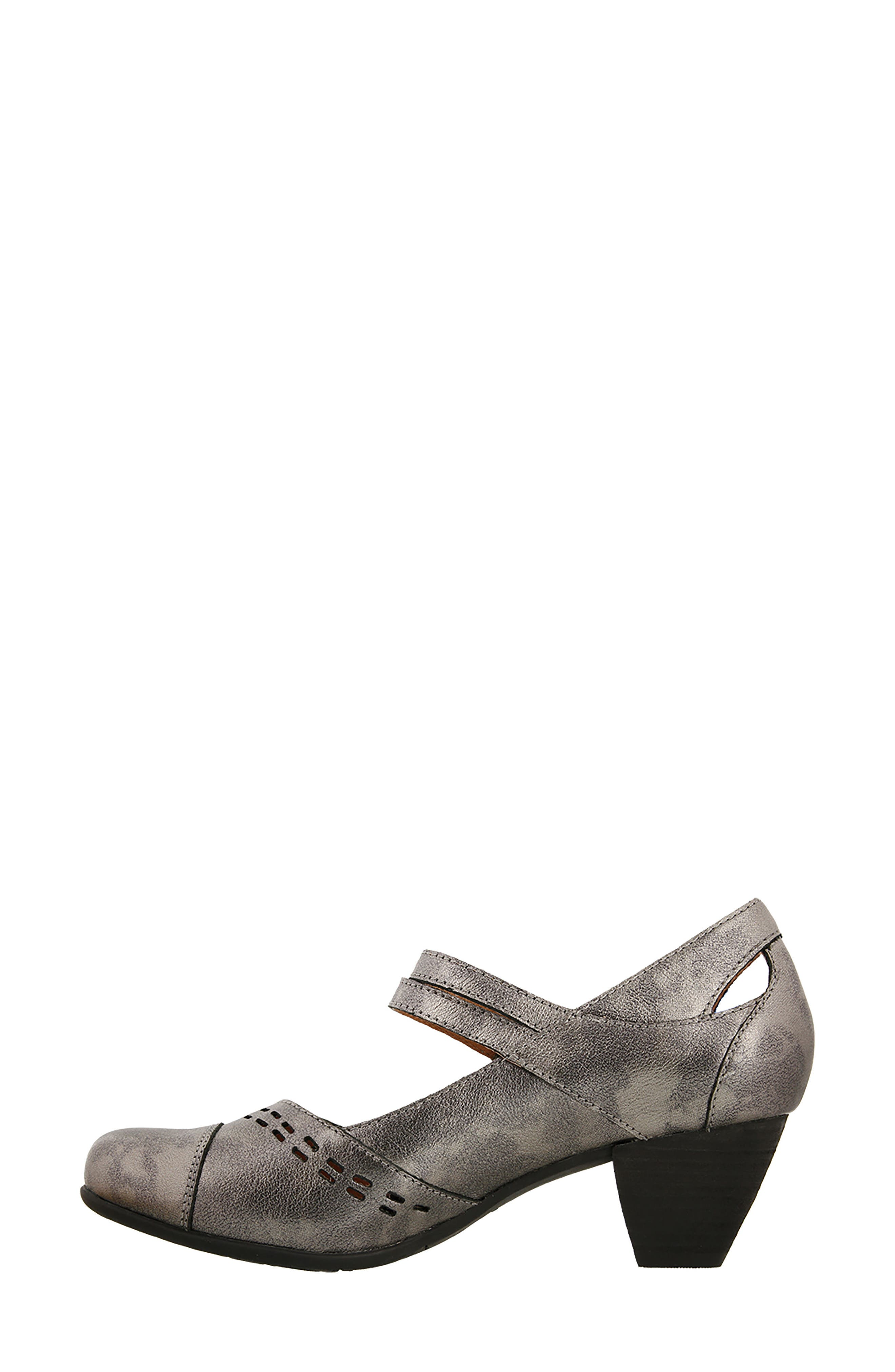 Stunner Laser Cutout Mary Jane Pump,                             Alternate thumbnail 4, color,                             Pewter Leather