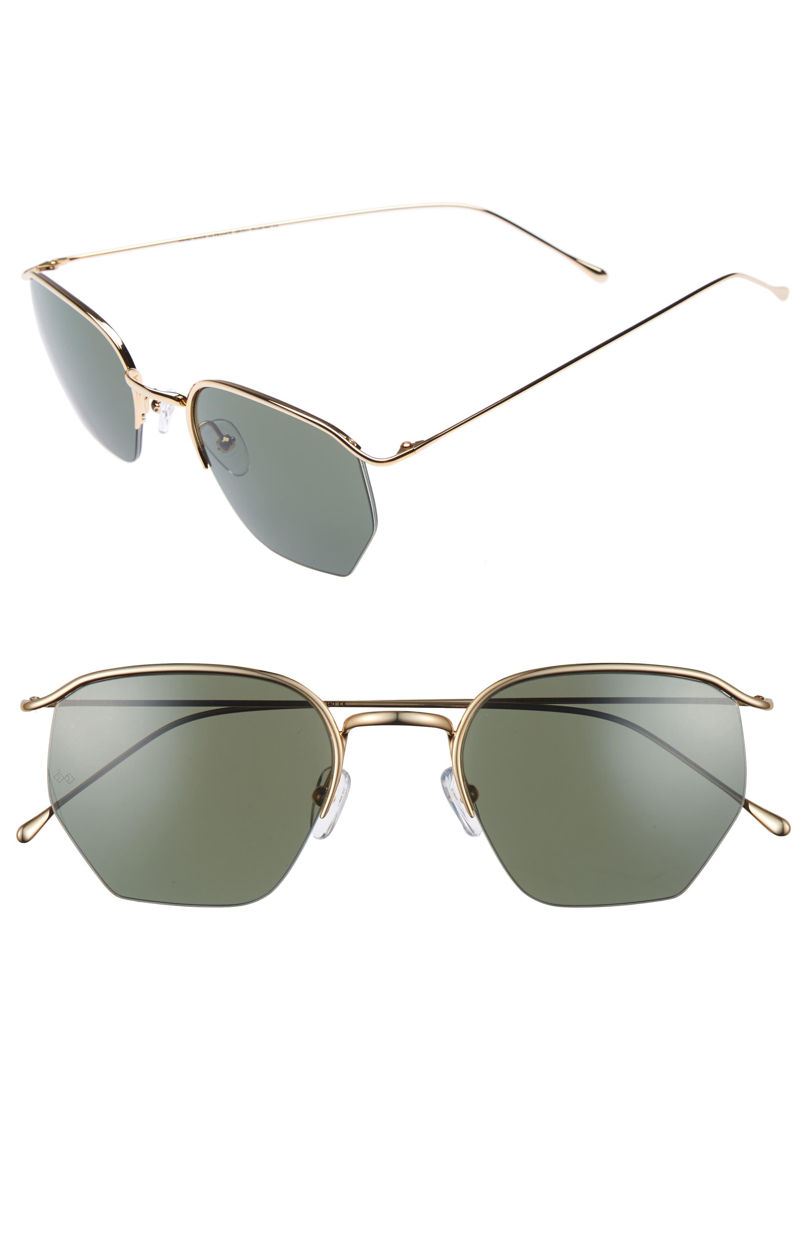 Geo 1 50mm Aviator Sunglasses,                         Main,                         color, Gold/ Light Green