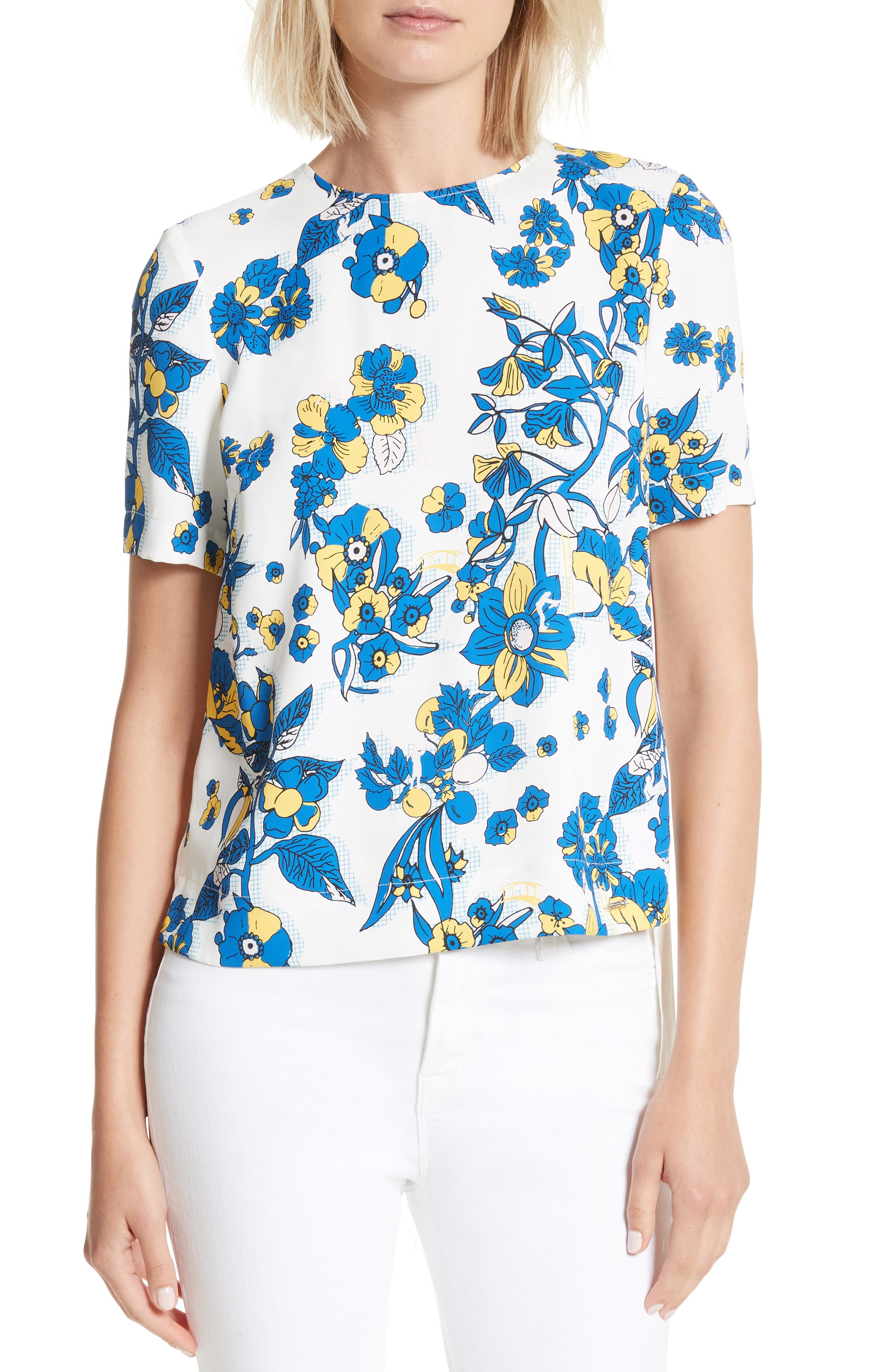 Ted Baker London Sophee Floral Print Pleated Back Top