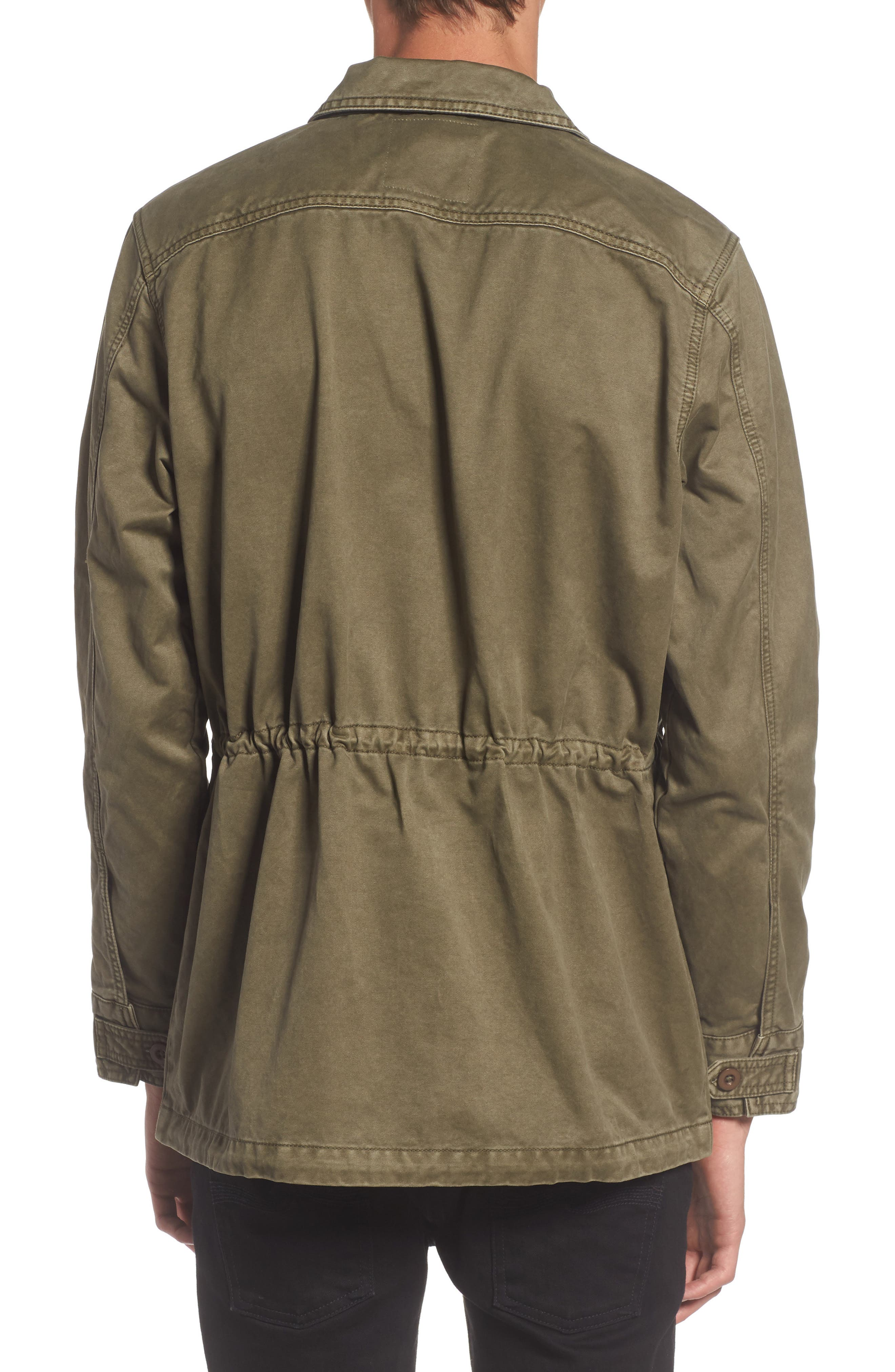 Waxed Cotton Field Jacket,                             Alternate thumbnail 2, color,                             Olive Grove