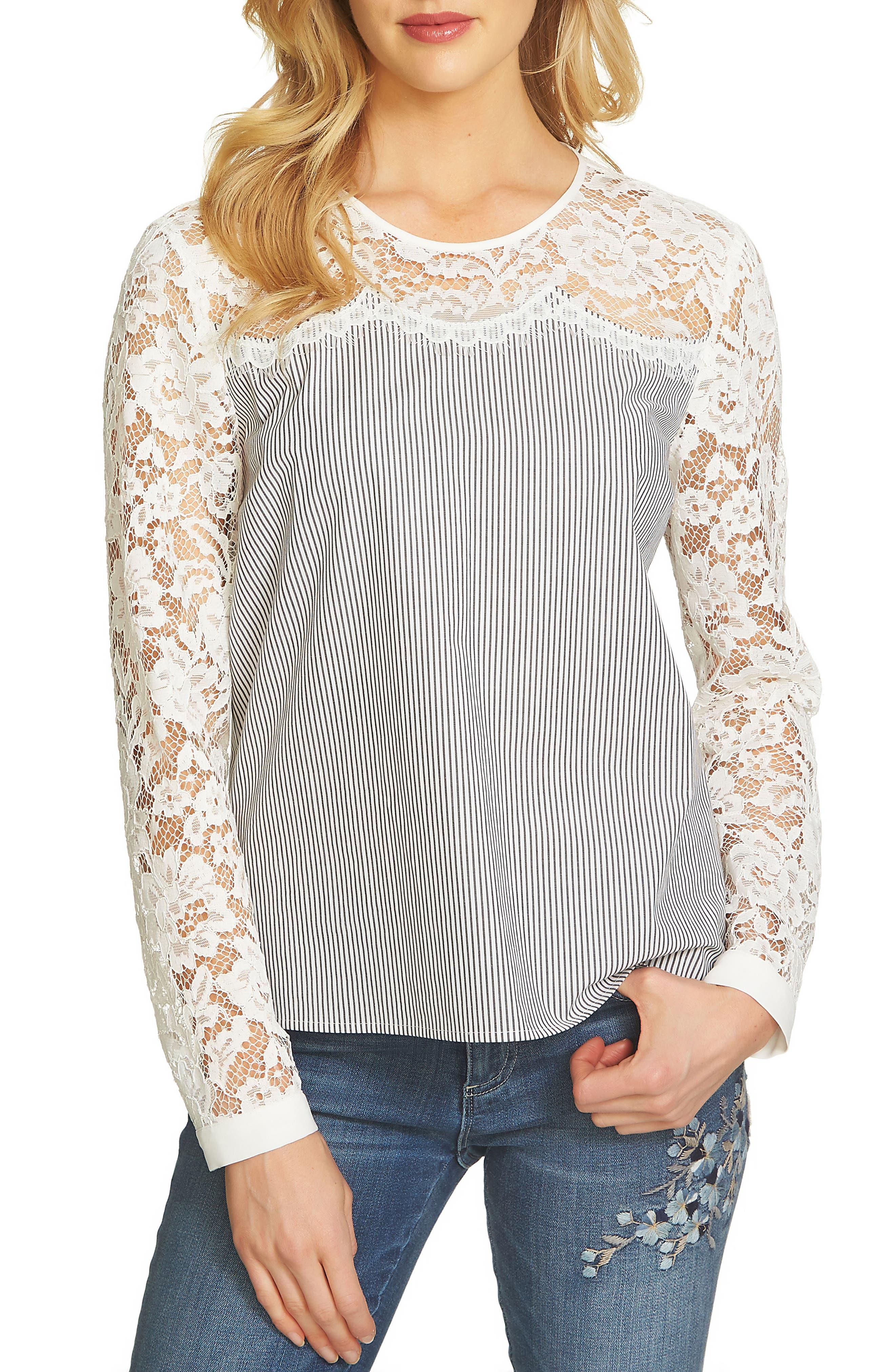 Pinstripe Lace Yoke Blouse,                         Main,                         color, Ultra White