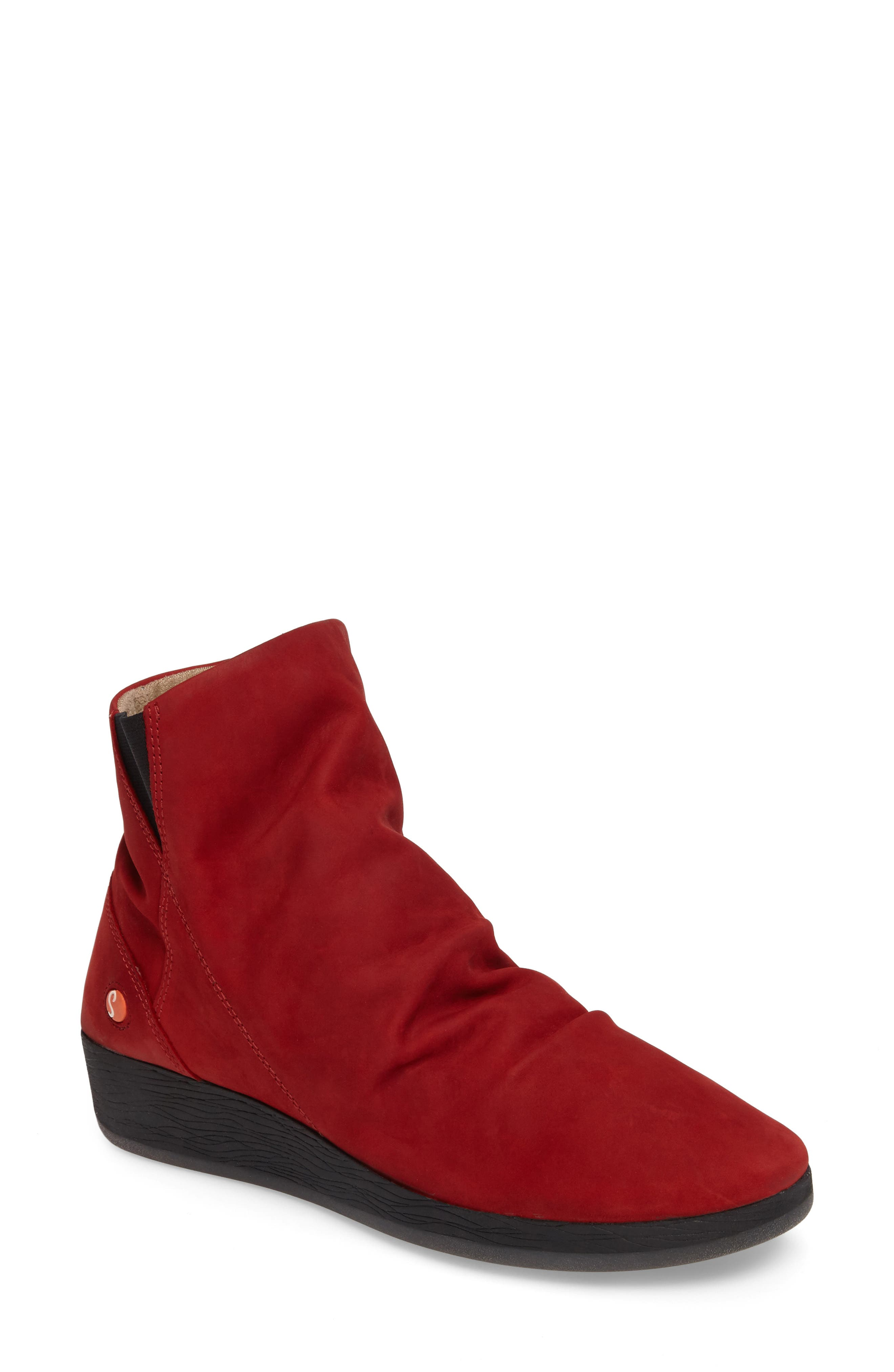 Ayo Low Wedge Bootie,                             Main thumbnail 1, color,                             Red Nubuck Leather