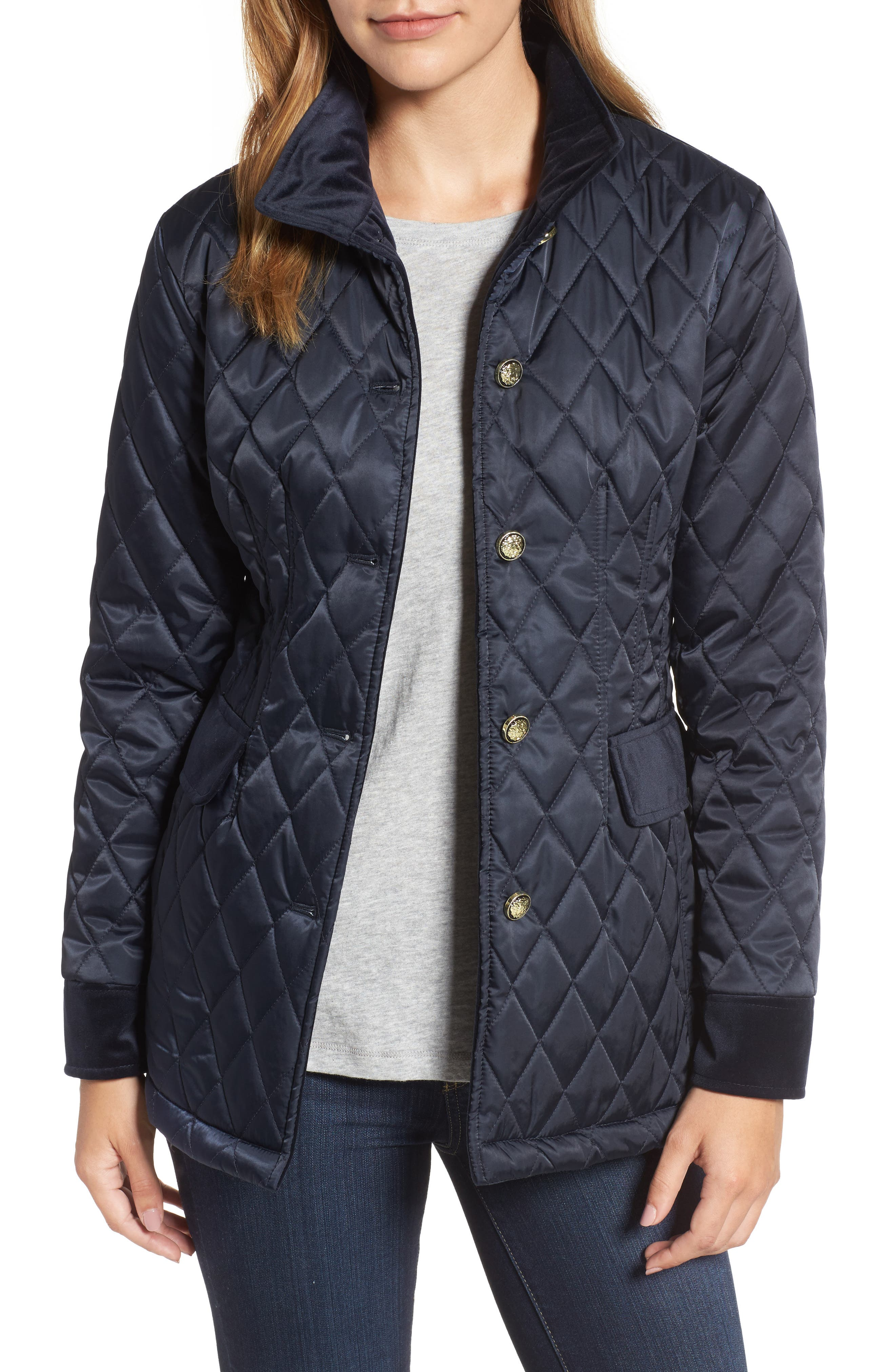 Quilted Jacket,                         Main,                         color, Navy