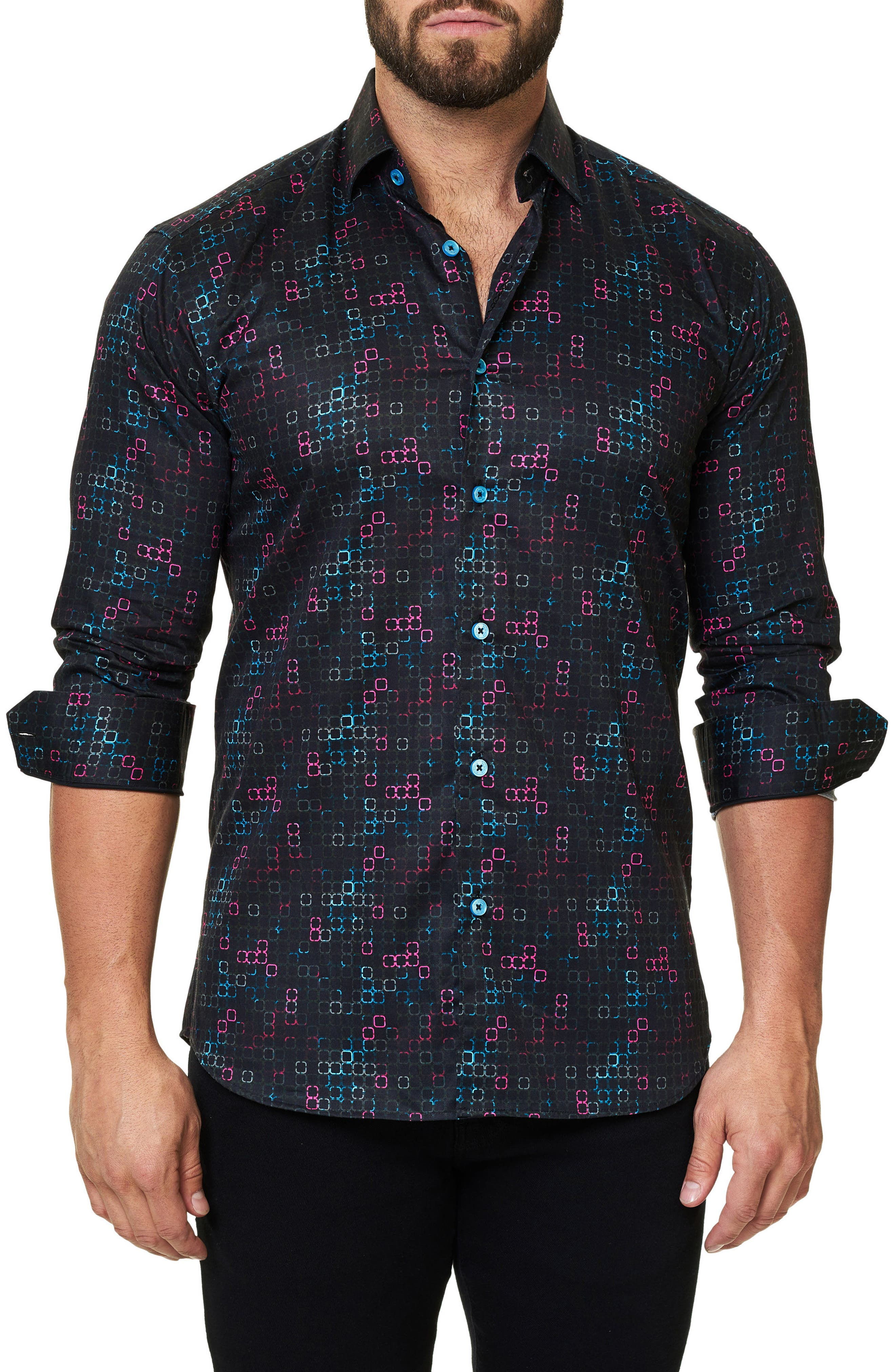 Trim Fit Geo Print Sport Shirt,                         Main,                         color, Black