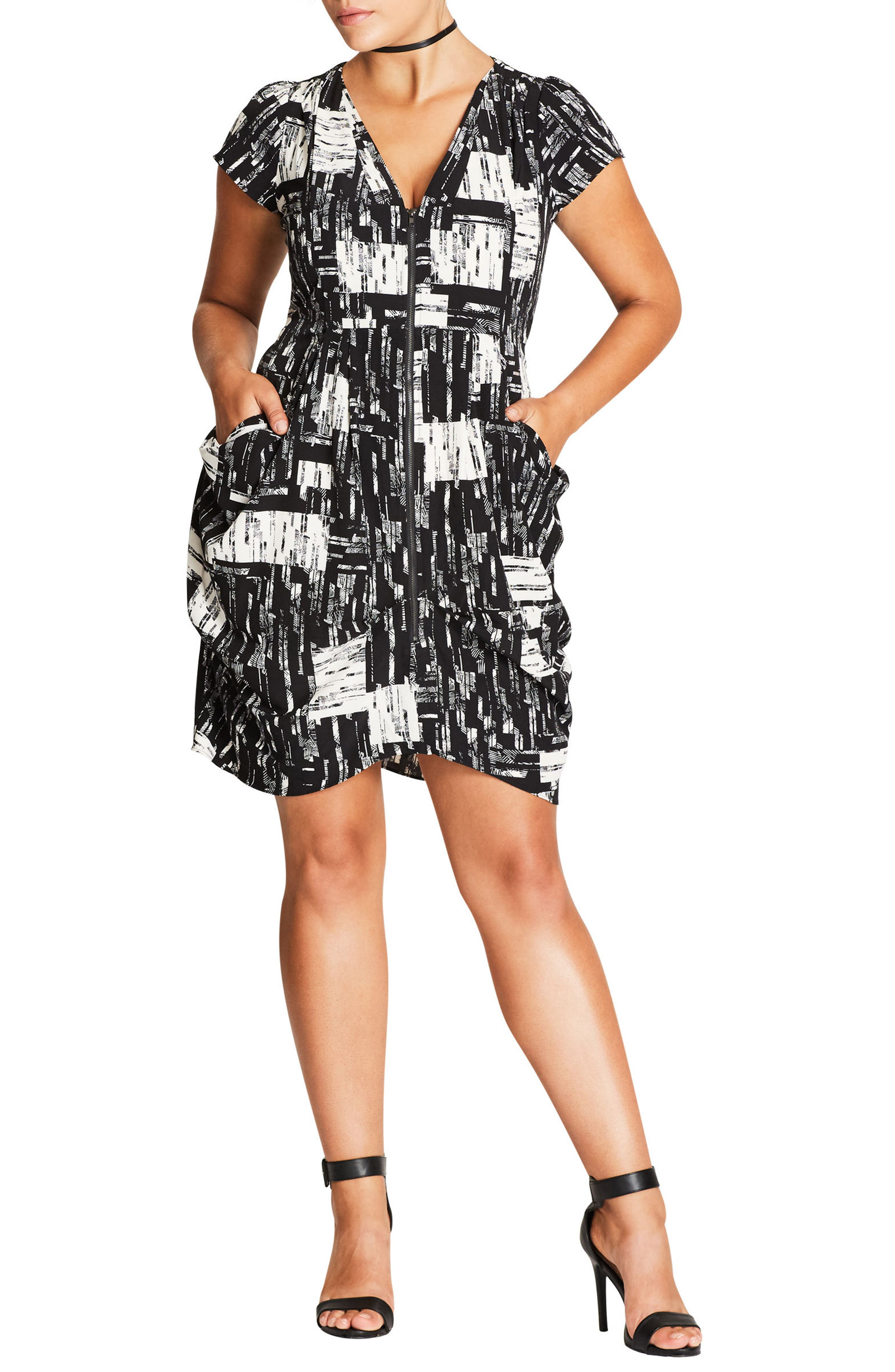 Geo Print Zip Front Tunic,                             Alternate thumbnail 3, color,                             Black Geo