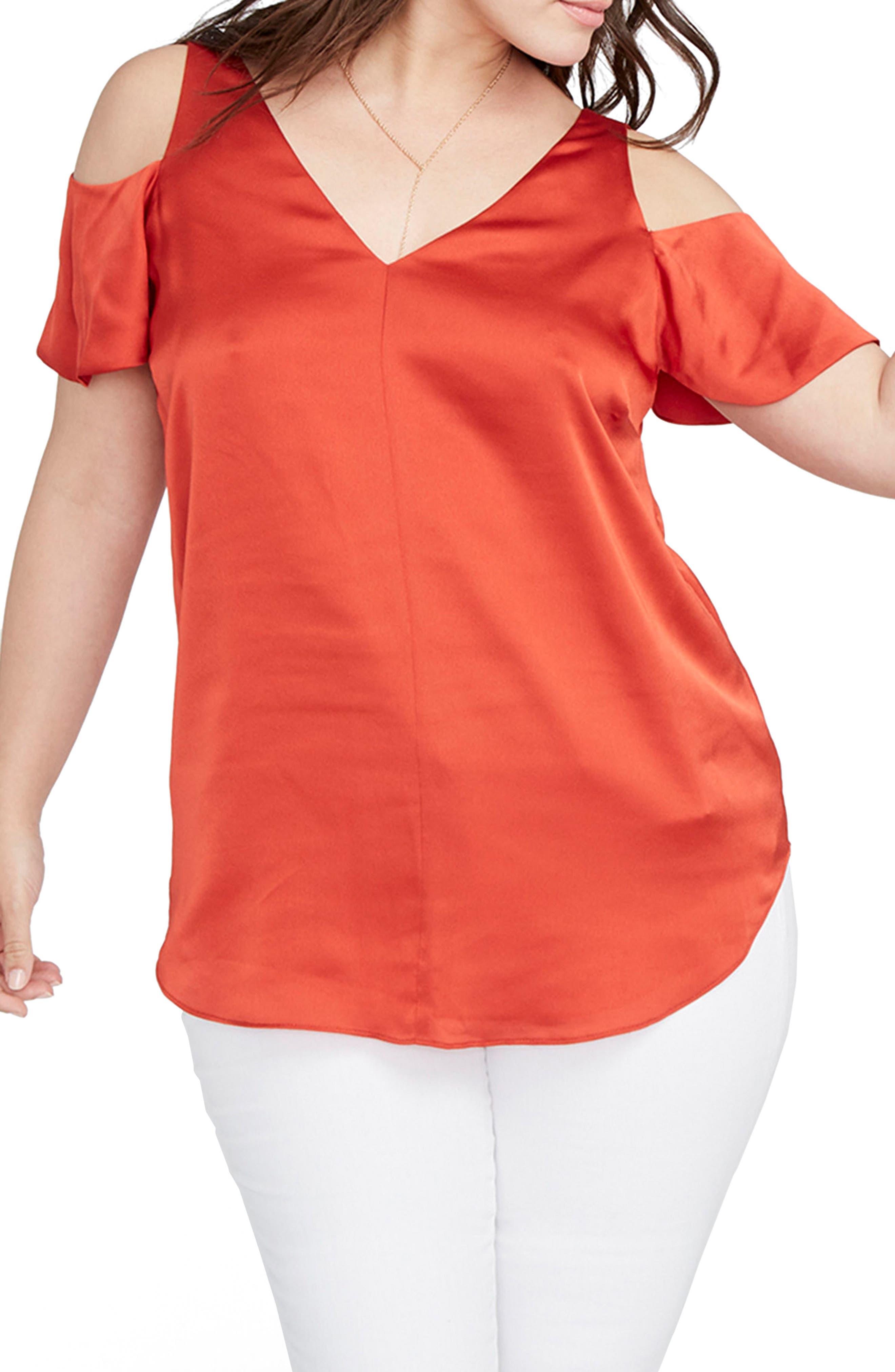 Main Image - RACHEL Rachel Roy Cold Shoulder Top (Plus Size)