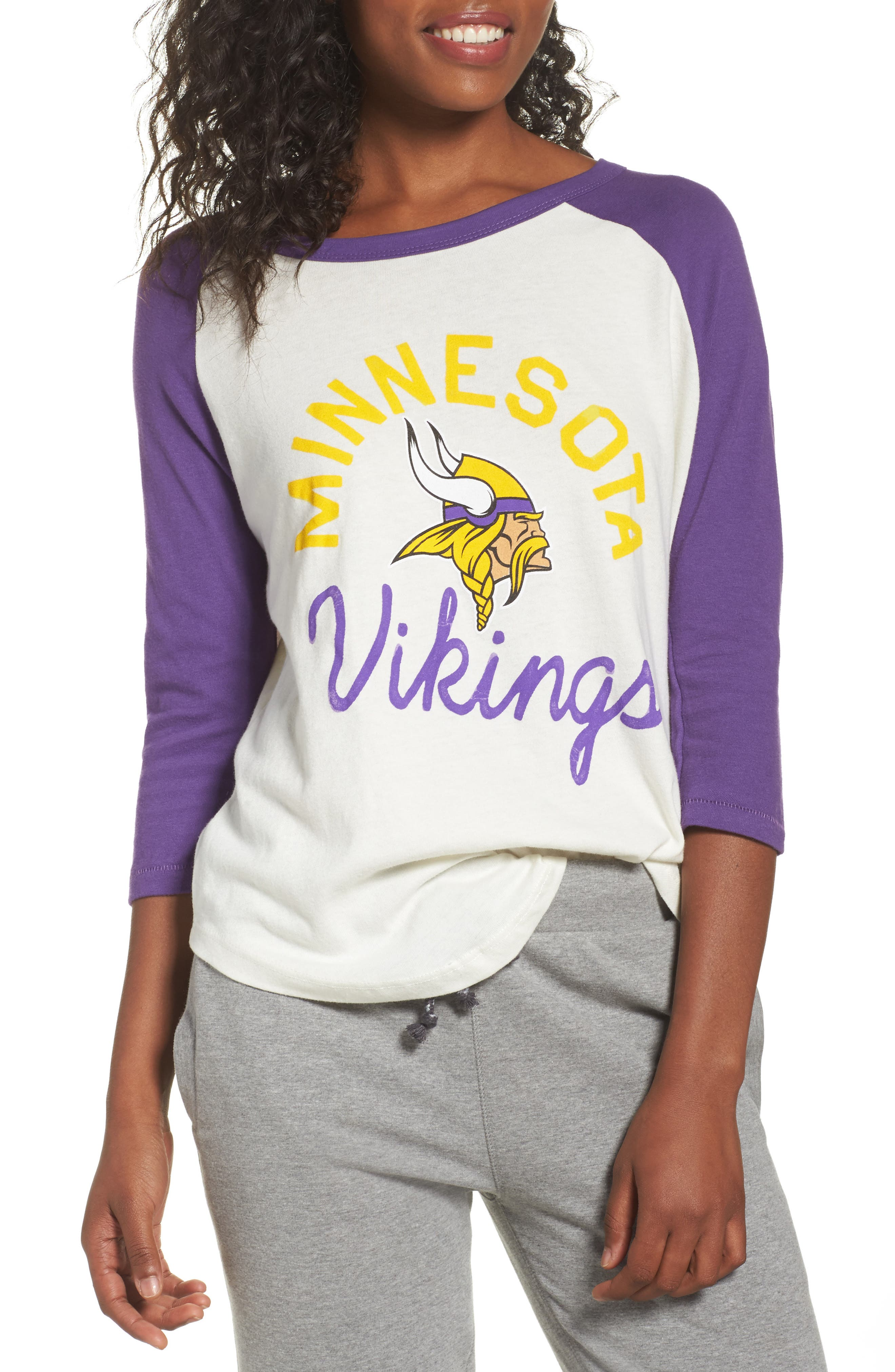 NFL Minnesota Vikings Raglan Tee,                             Main thumbnail 1, color,                             Sugar/ Purple