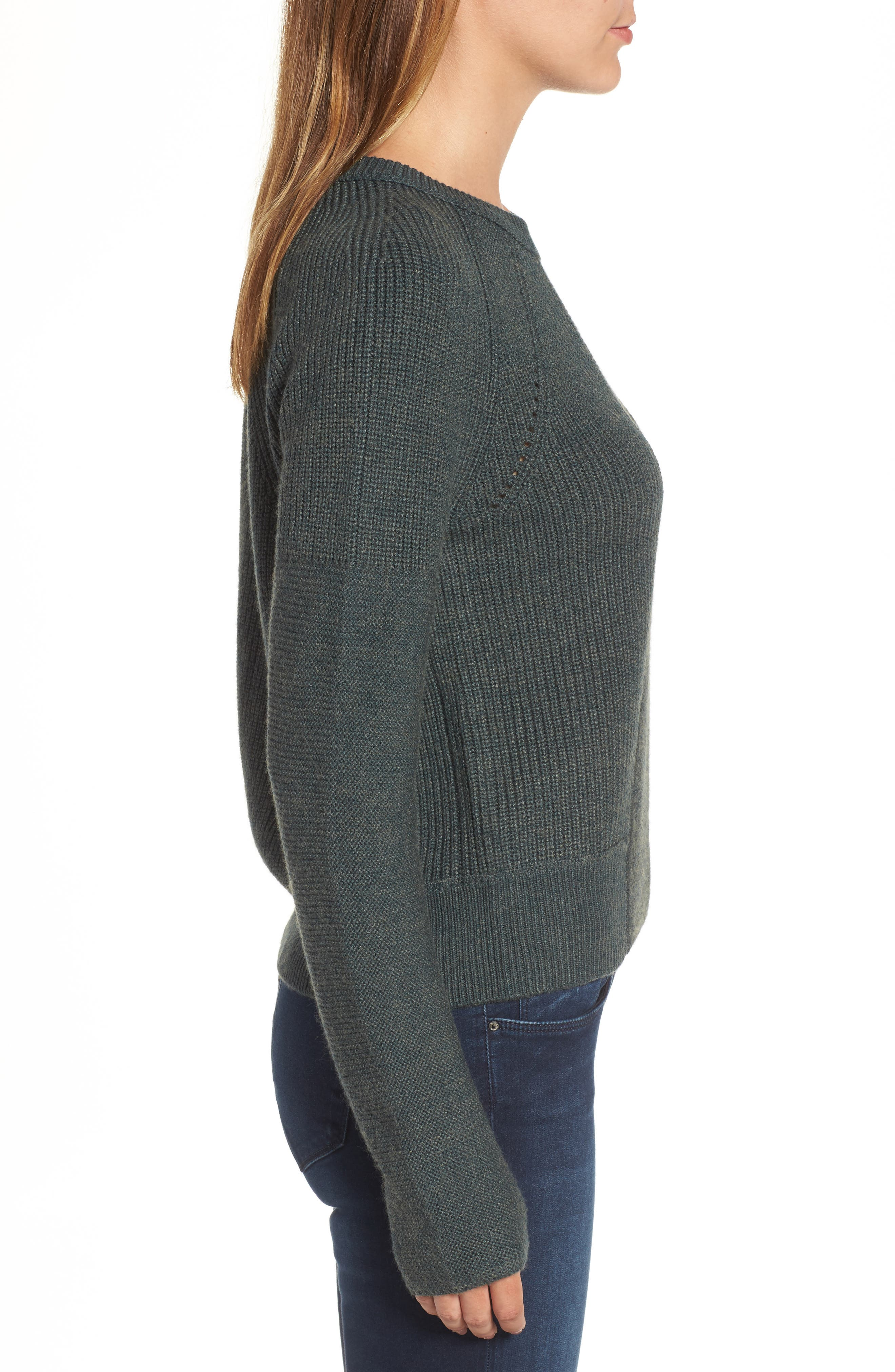 Engineered Stitch Sweater,                             Alternate thumbnail 4, color,                             Military
