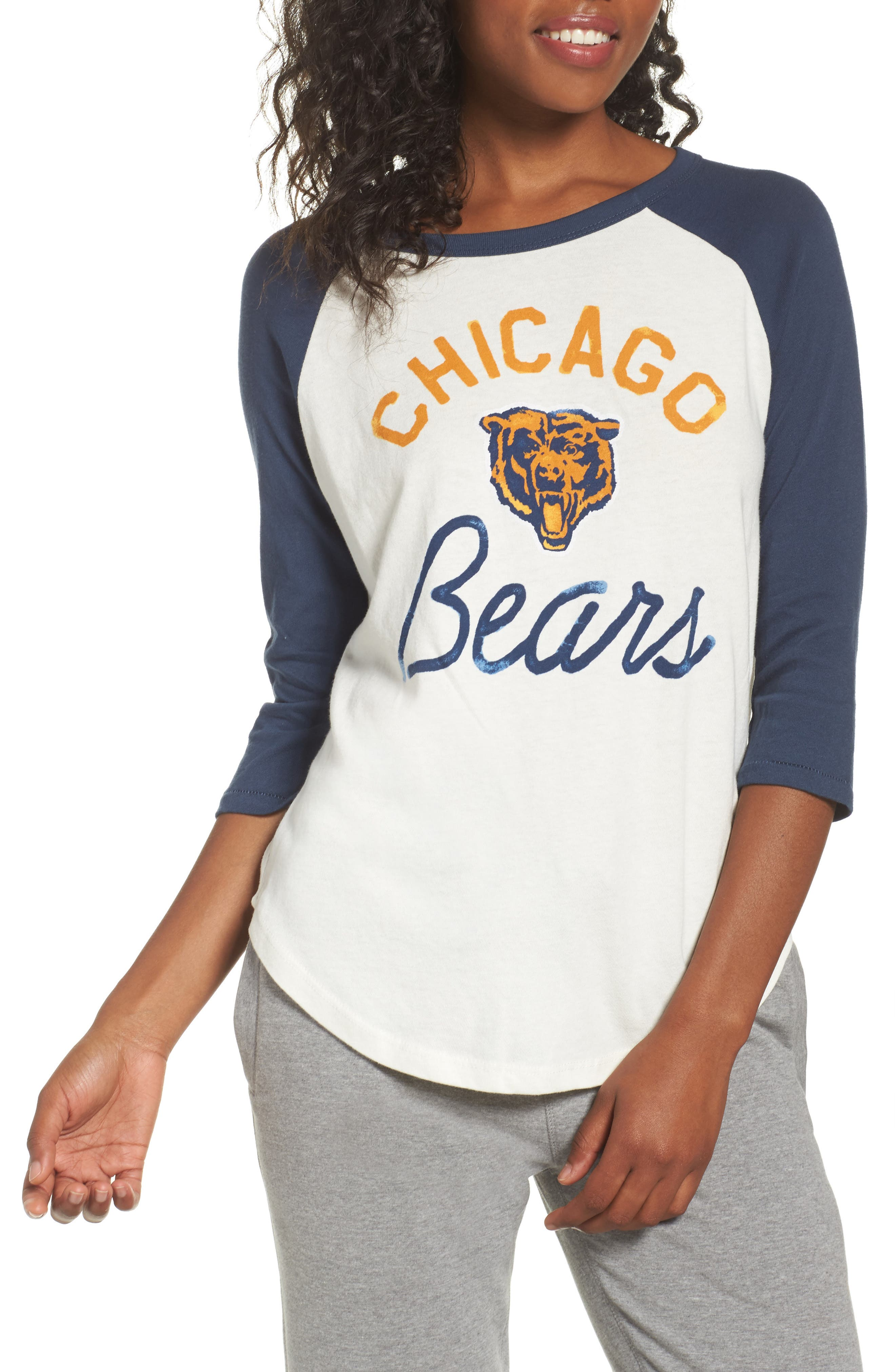 NFL Chicago Bears Raglan Tee,                             Main thumbnail 1, color,                             Sugar/ True Navy