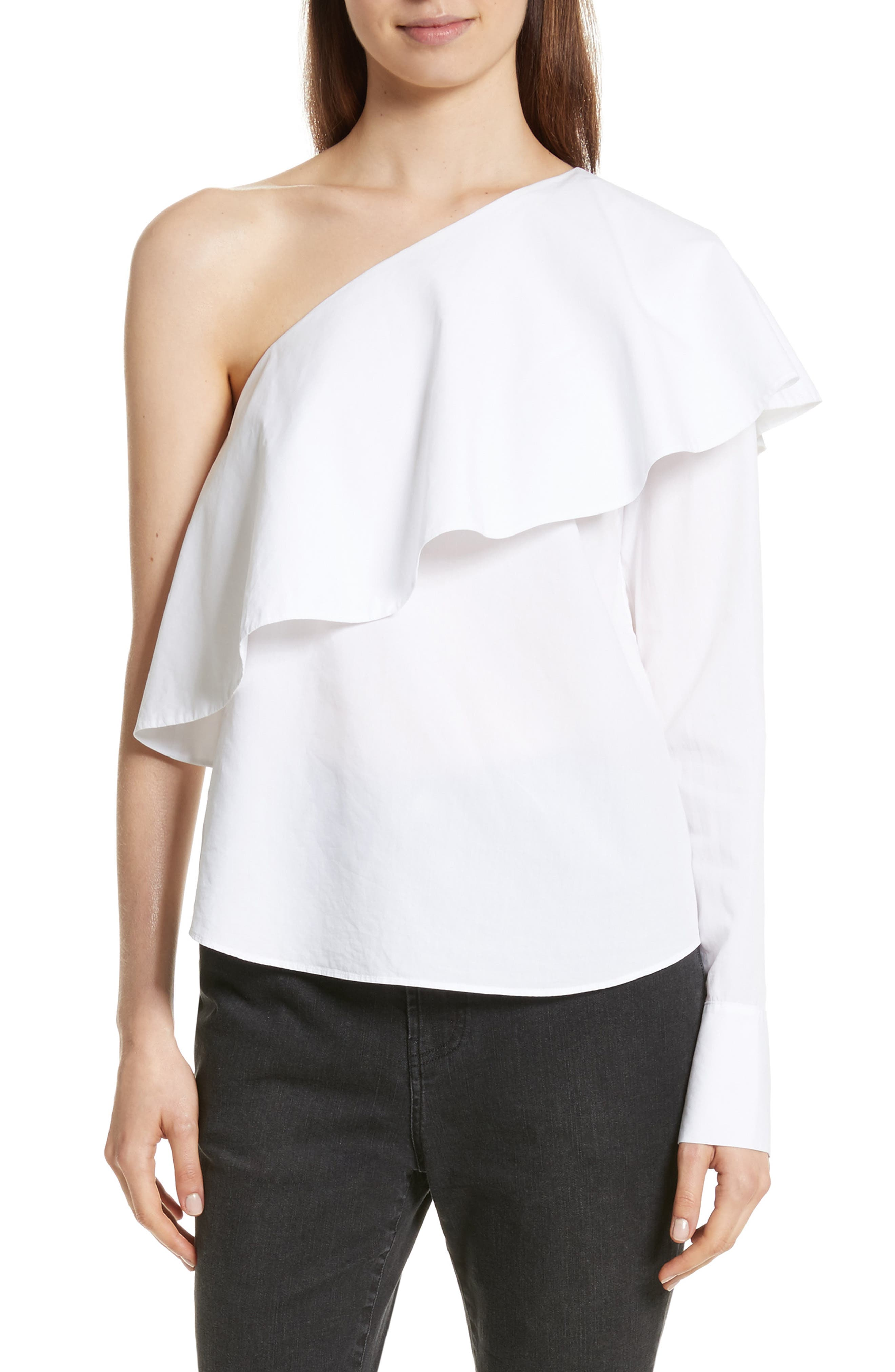 One-Shoulder Ruffle Top,                         Main,                         color, Optic White