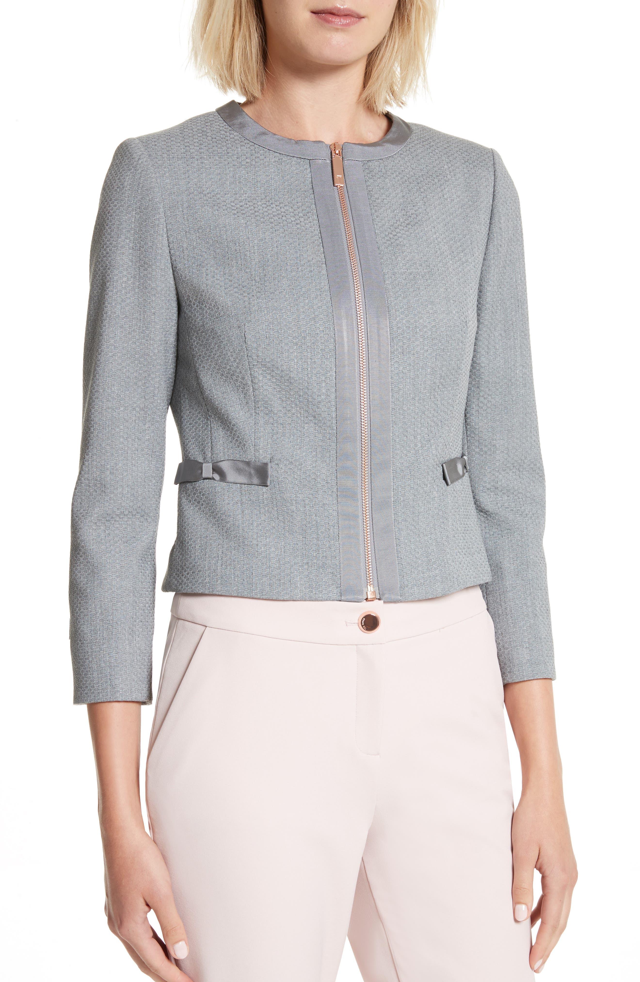 Nadae Bow Detail Crop Jacket,                             Alternate thumbnail 4, color,                             Mid Grey