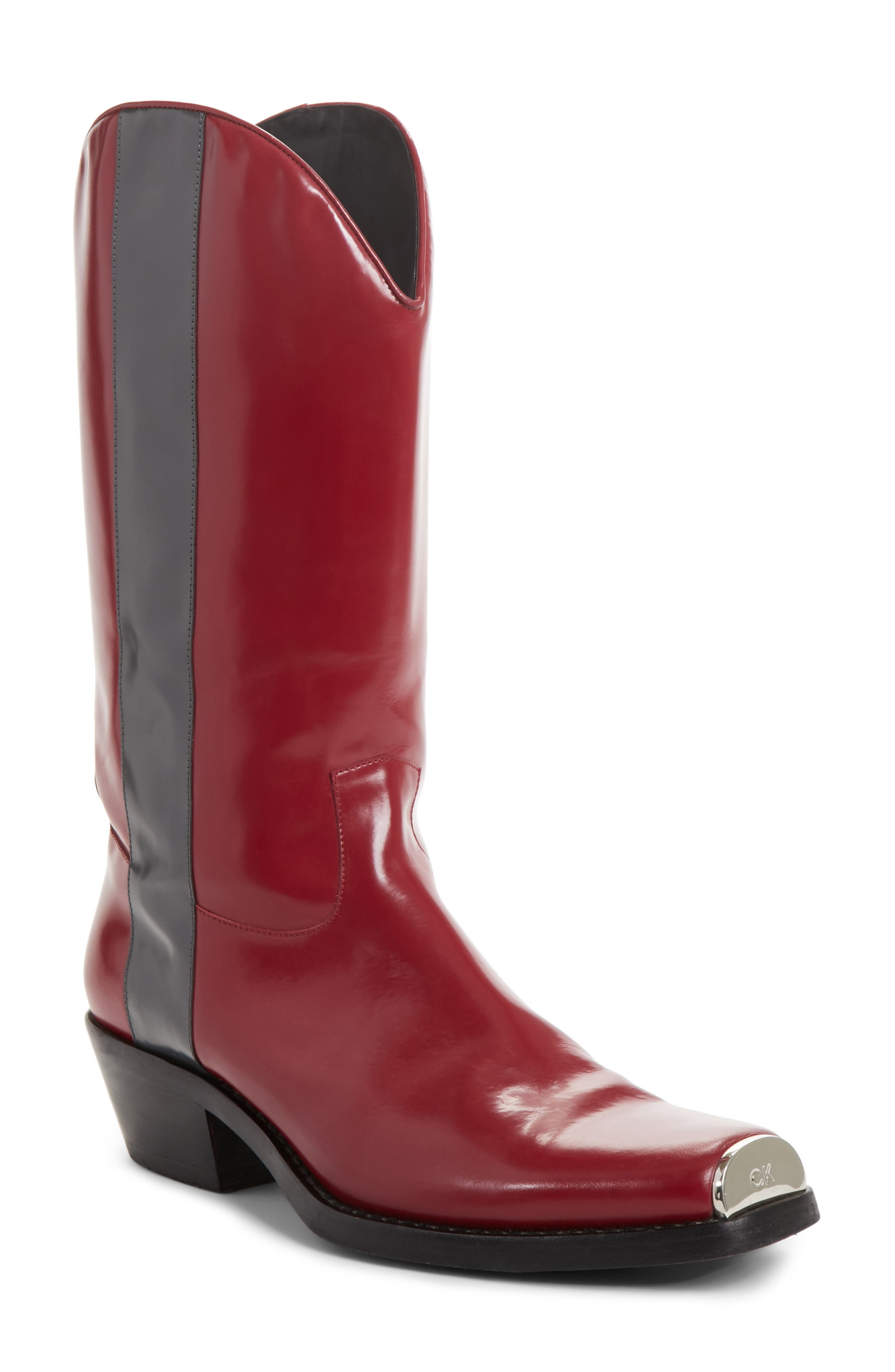 Chris Western Metal Tip Boot,                         Main,                         color, Dark Red/ Anthracite Leather