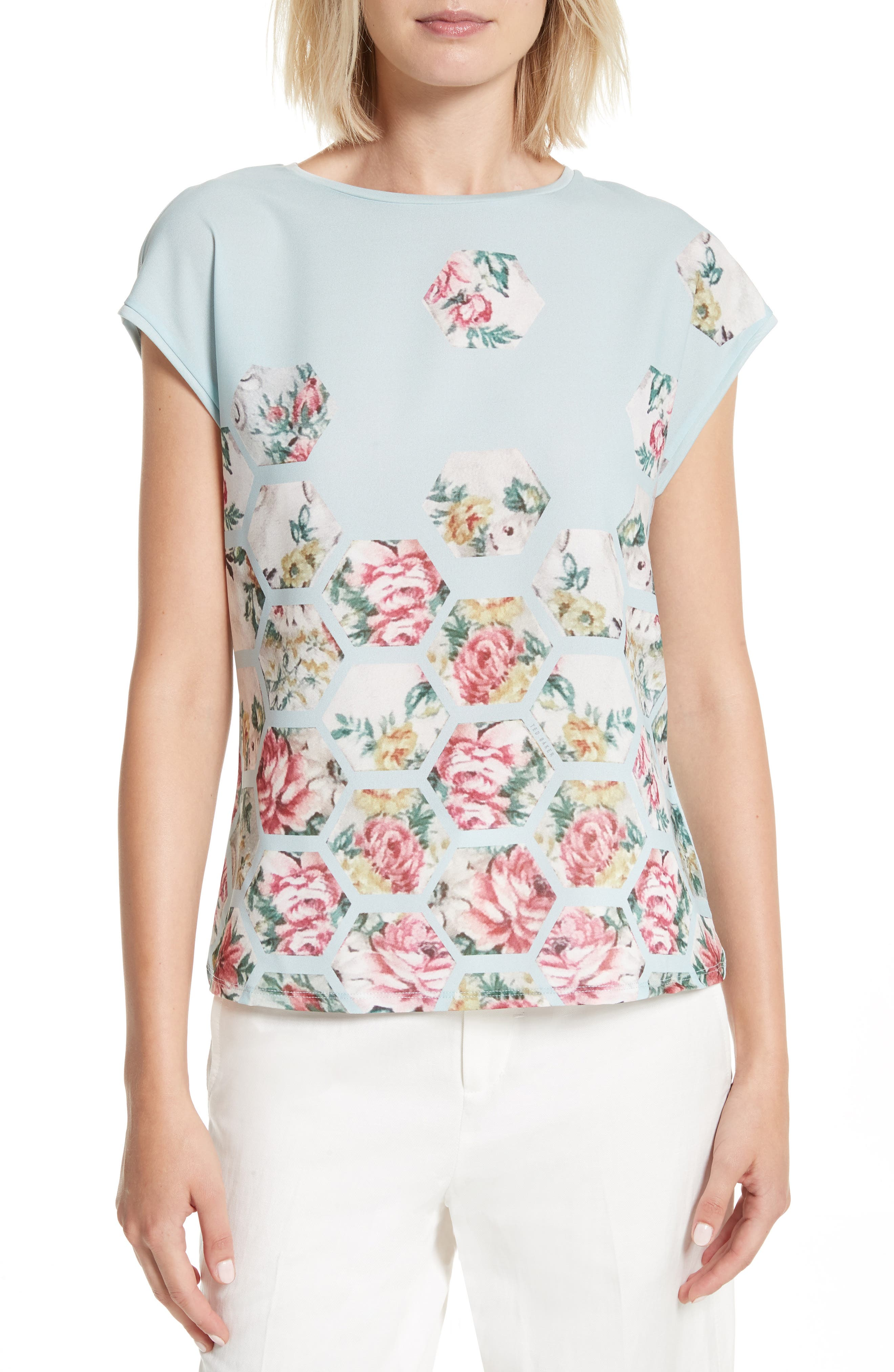 TED BAKER LONDON Soma Patchwork Woven Front Tee
