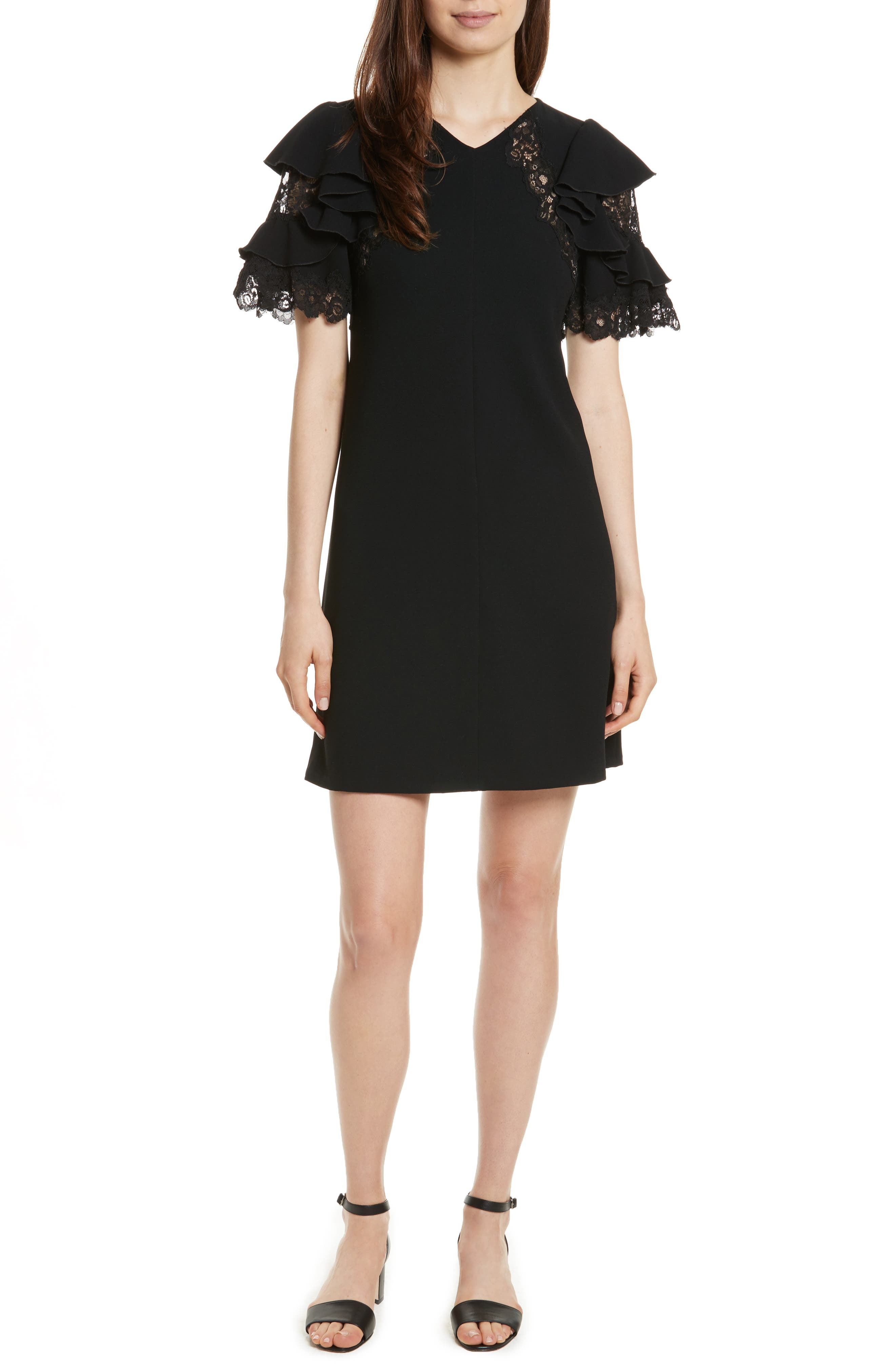 Ruffle Sleeve Lace Sheath Dress,                             Main thumbnail 1, color,                             Black