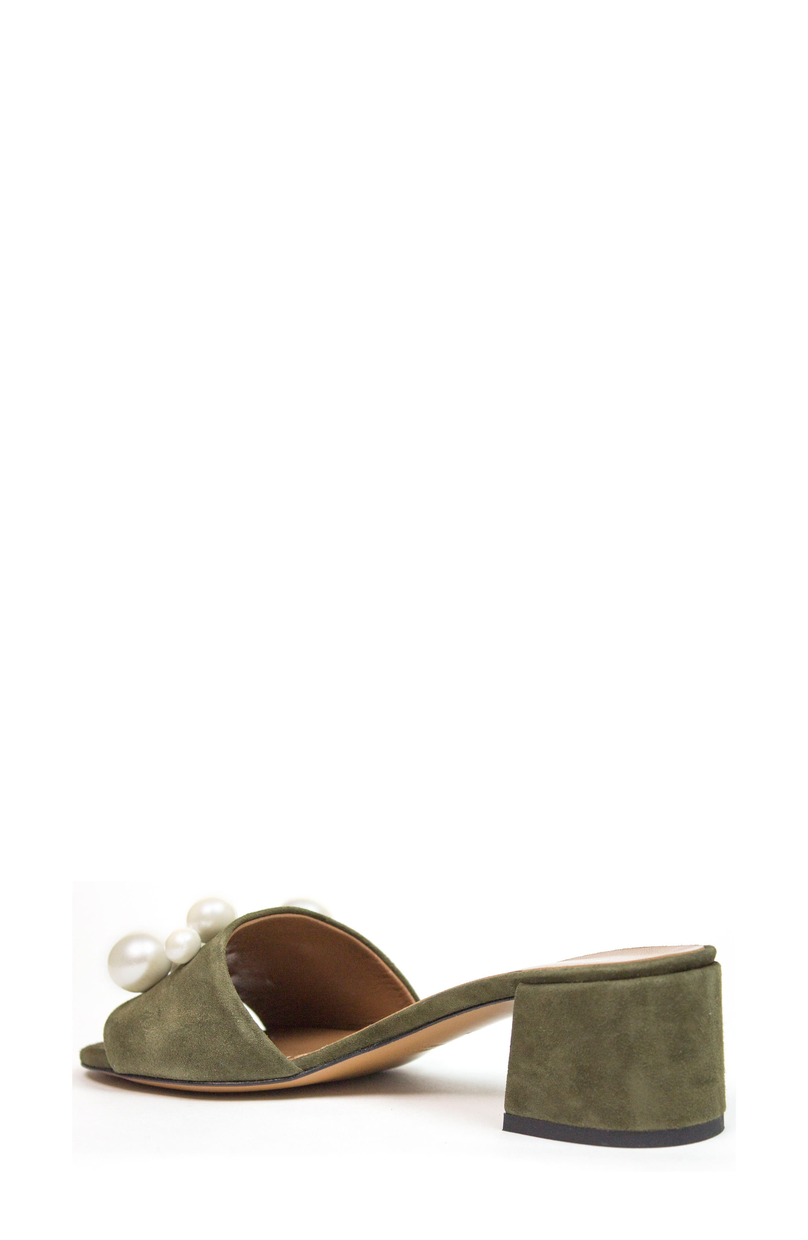 Ariella Beaded Slide Mule,                             Alternate thumbnail 2, color,                             Olive Suede