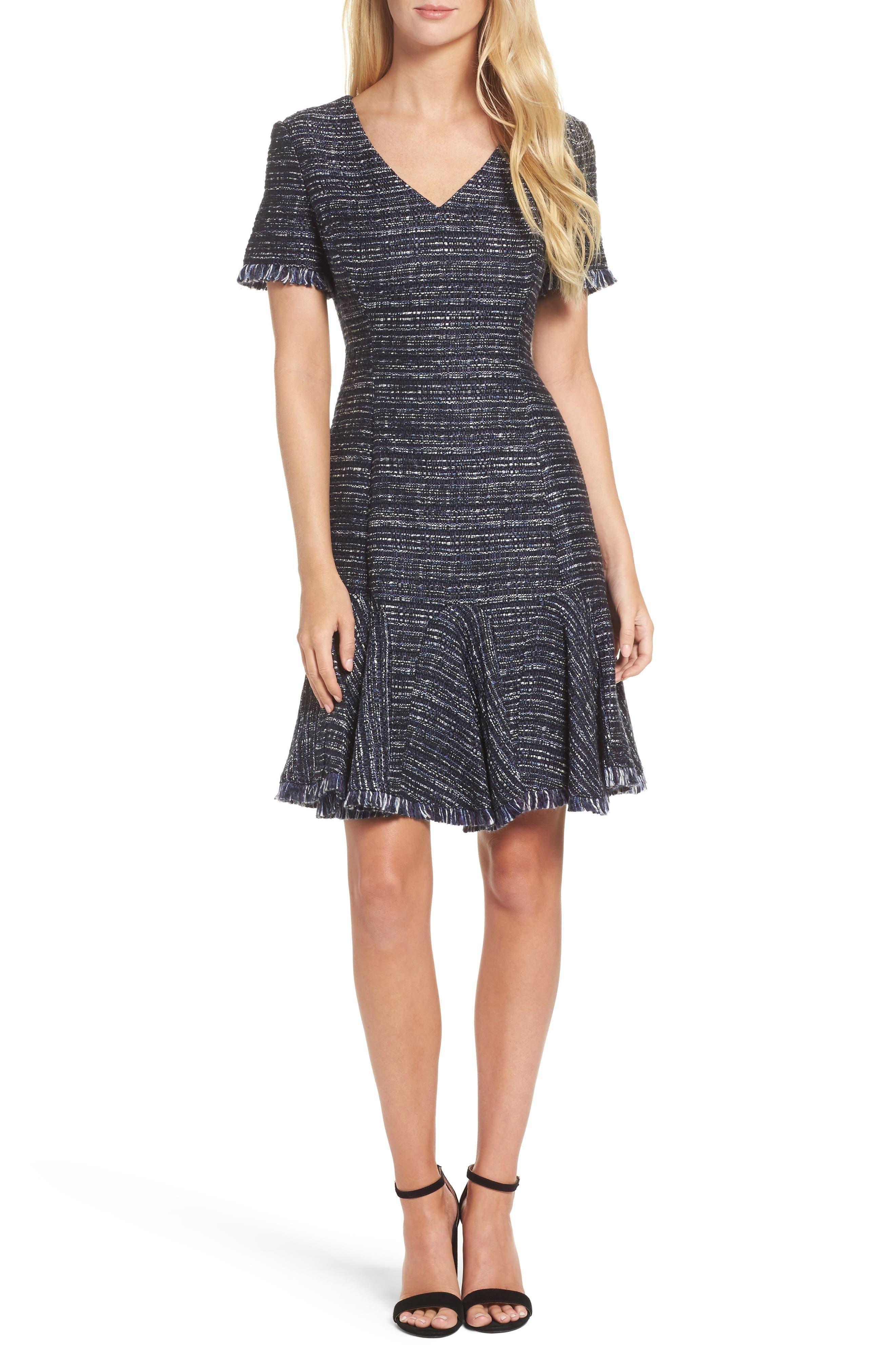 Short Sleeve Fit & Flare Dress,                             Main thumbnail 1, color,                             Navy