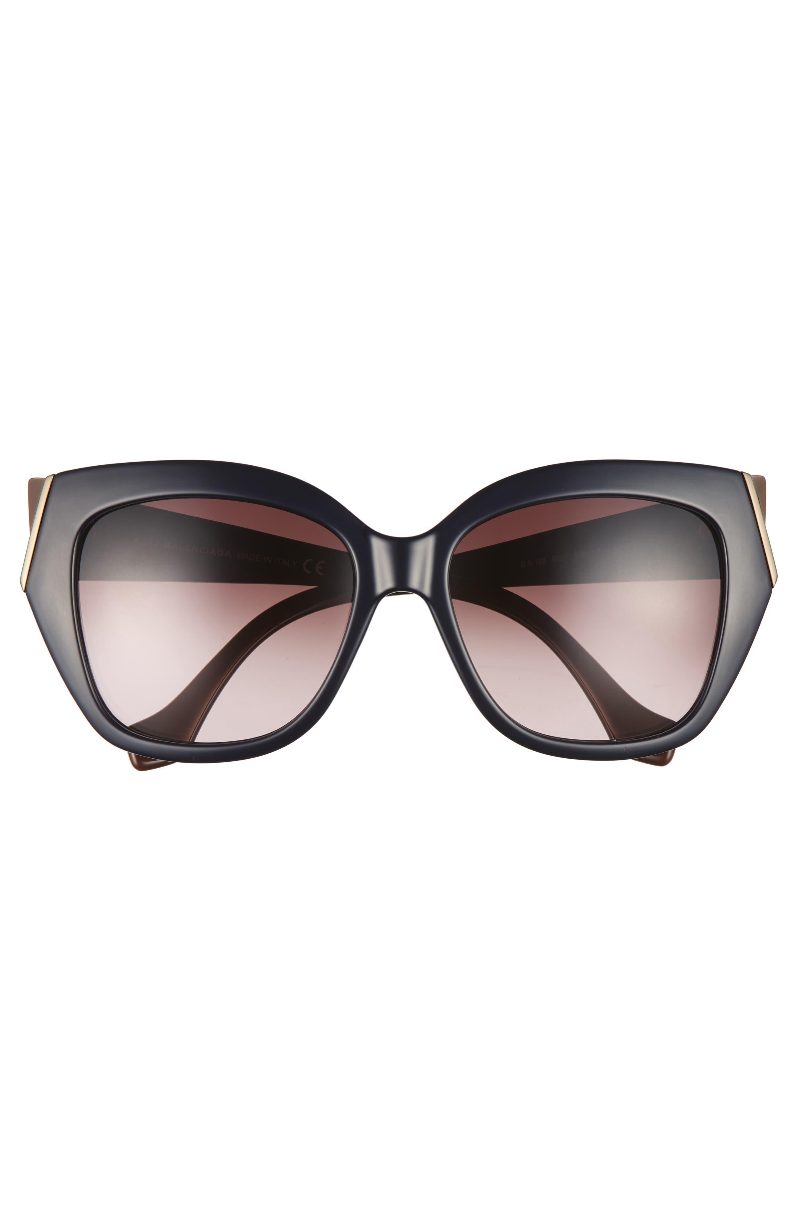 57mm Cat Eye Sunglasses,                             Alternate thumbnail 3, color,                             Shiny Blue/ Gradient Brown