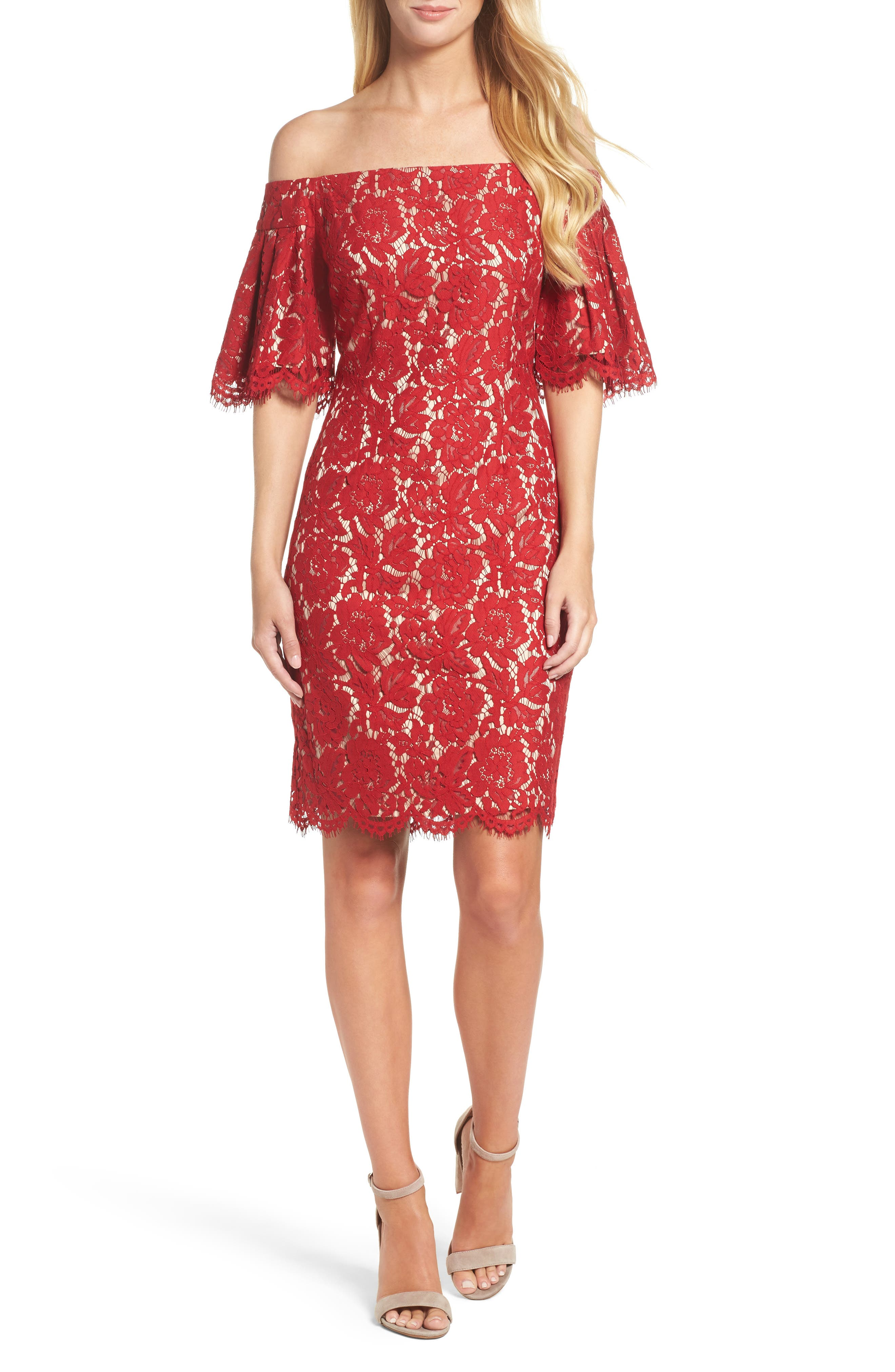Flounce Sleeve Off the Shoulder Lace Sheath Dress,                             Main thumbnail 1, color,                             Red
