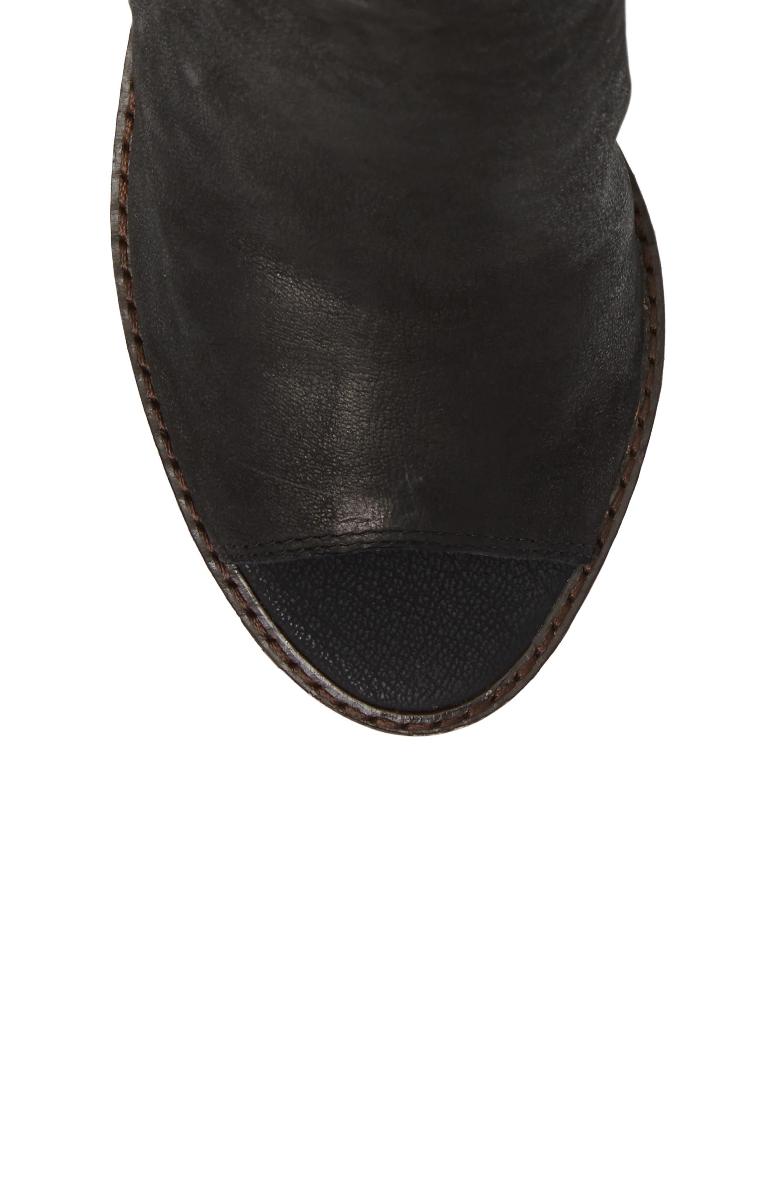 Terrie Peep Toe Bootie,                             Alternate thumbnail 3, color,                             Black Leather