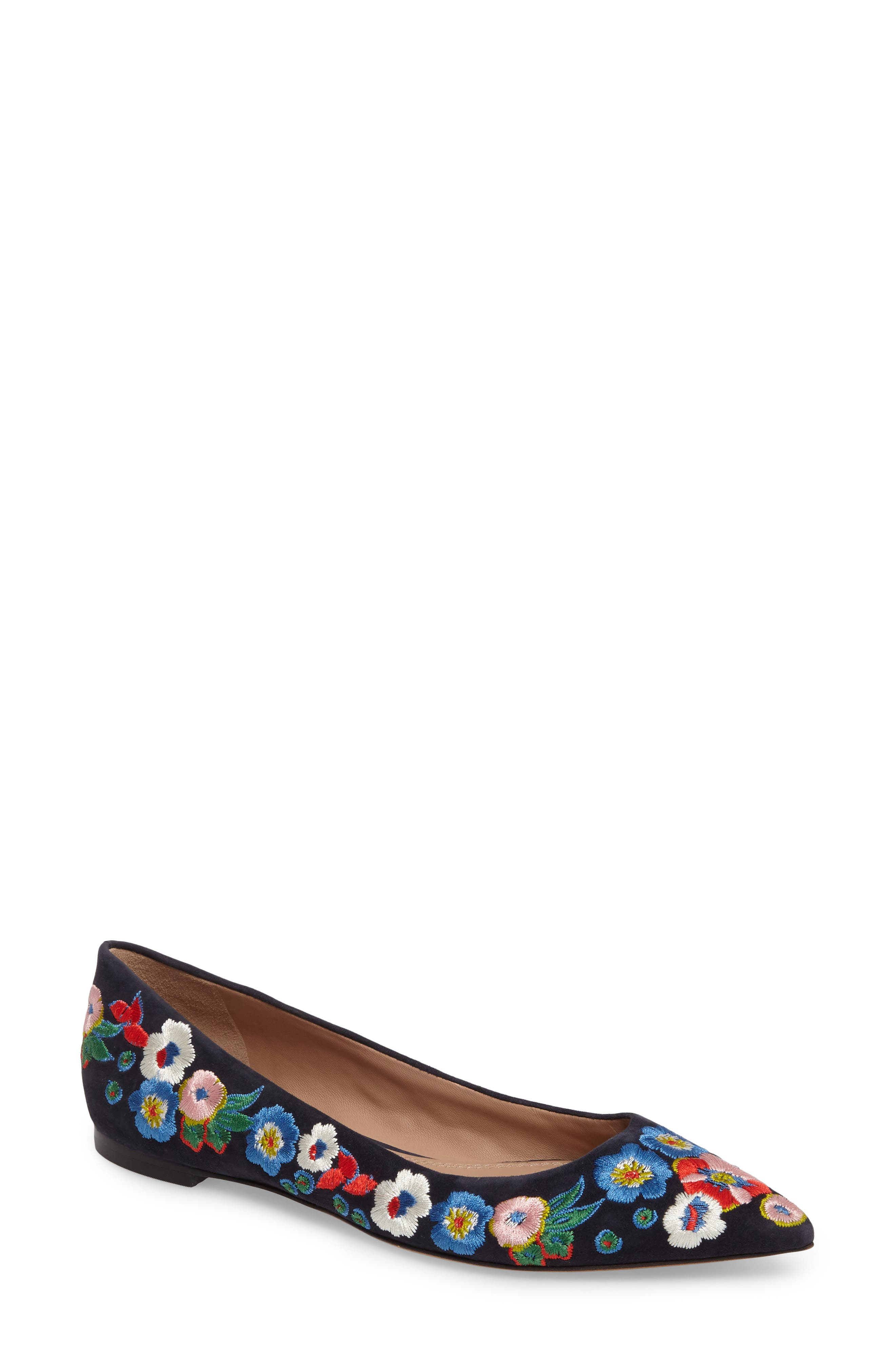 Rosemont Flower Embroidered Flat,                             Main thumbnail 1, color,                             Tory Navy/ Pansy Bouquet