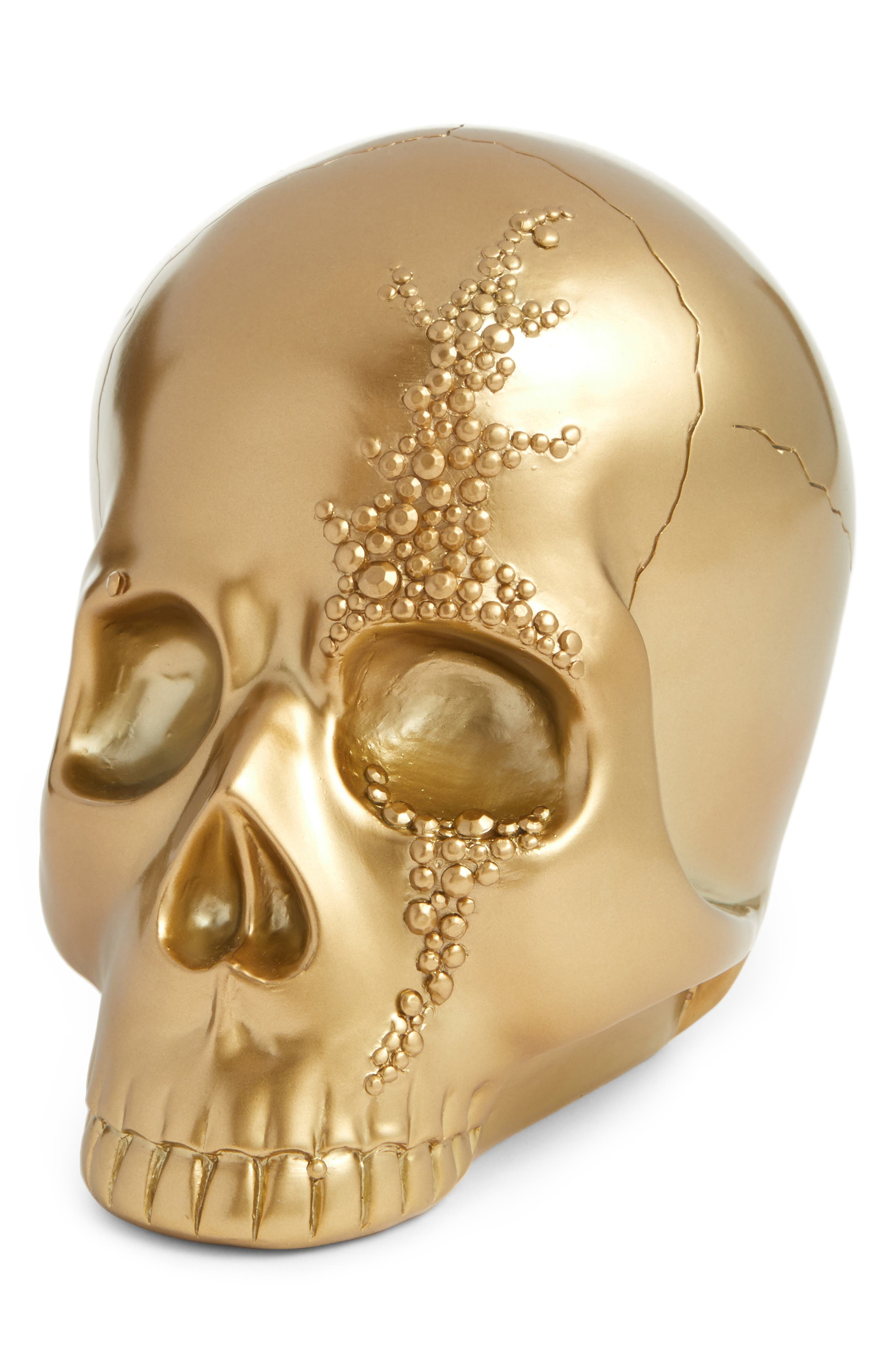 Goldtone Skull Decoration,                             Main thumbnail 1, color,                             Gold