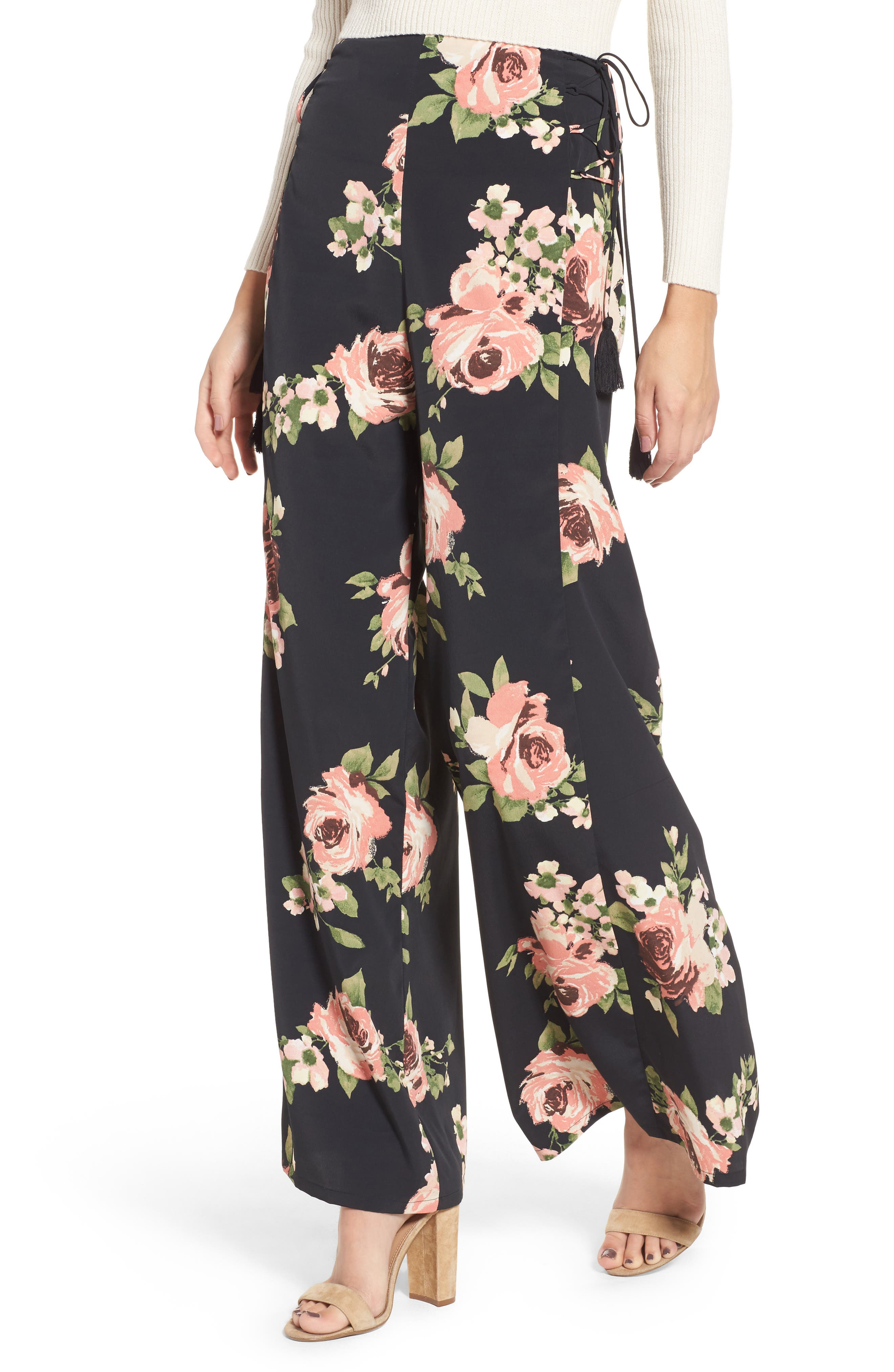 BAND OF GYPSIES Floral Wide Leg Pants