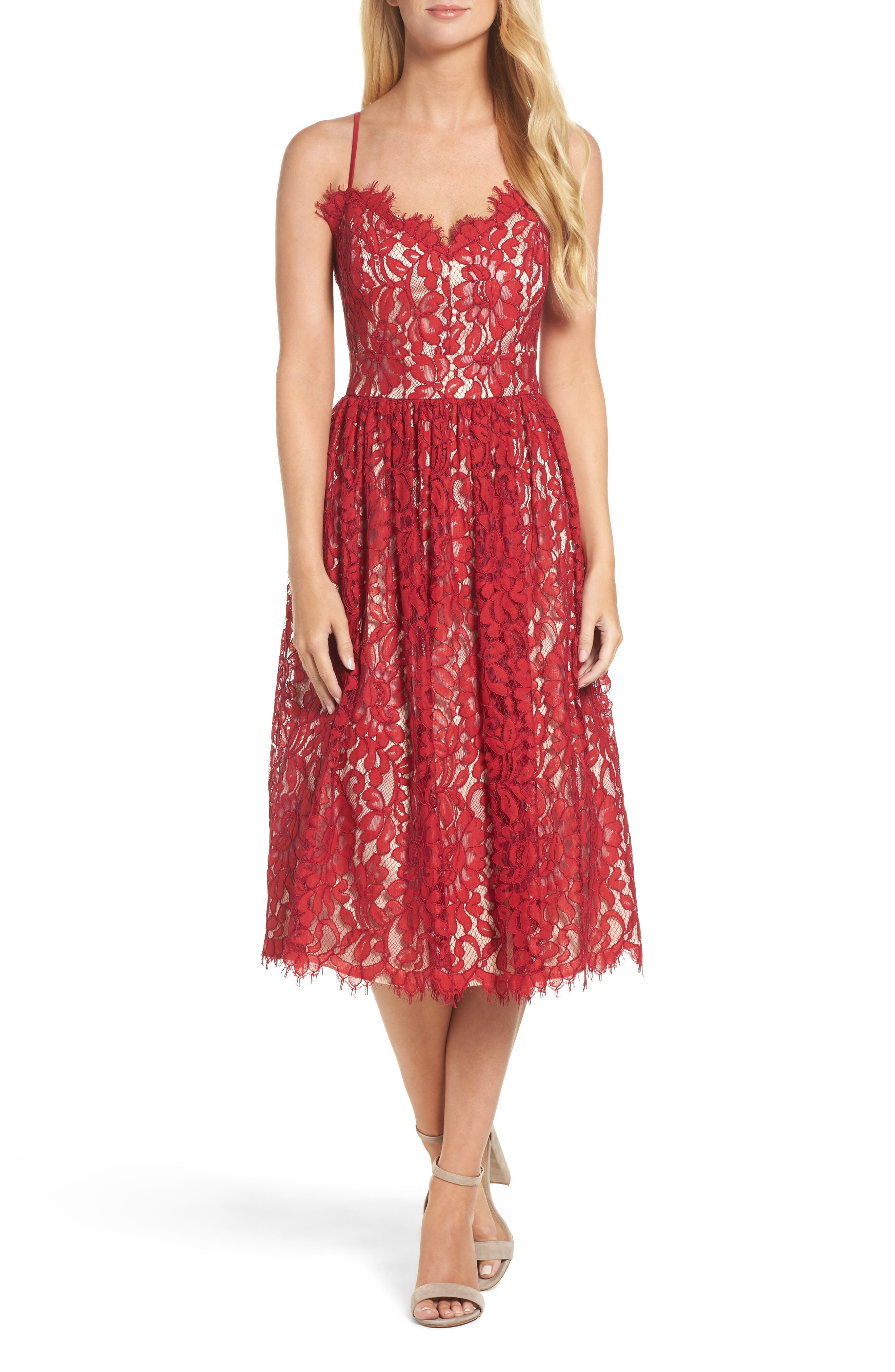 Eliza J Gathered Lace Midi Dress