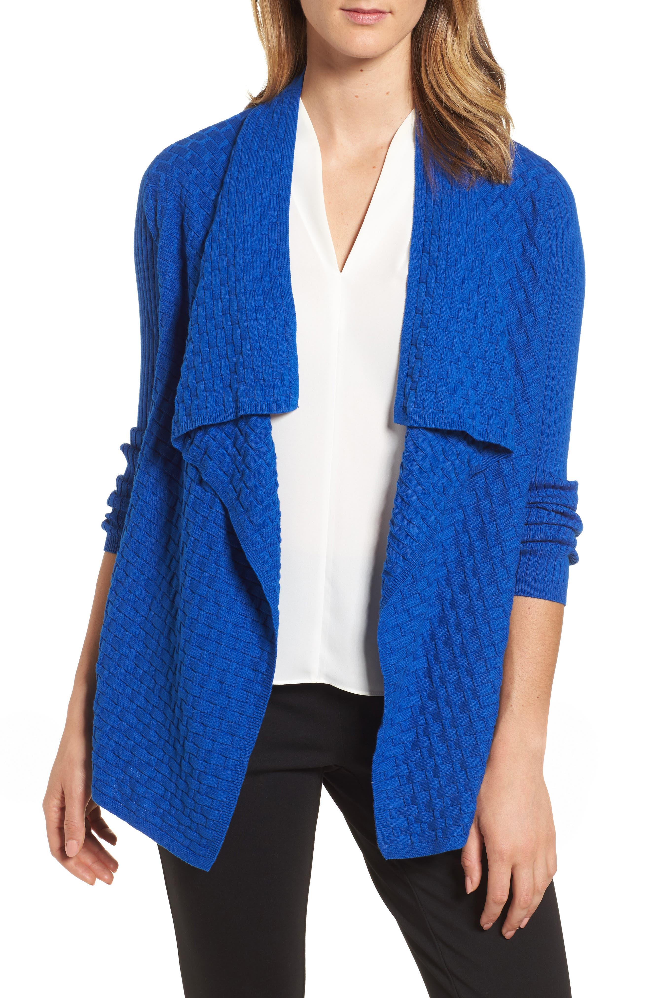 Mixed Cotton Knit Cardigan,                         Main,                         color, Royal Cobalt